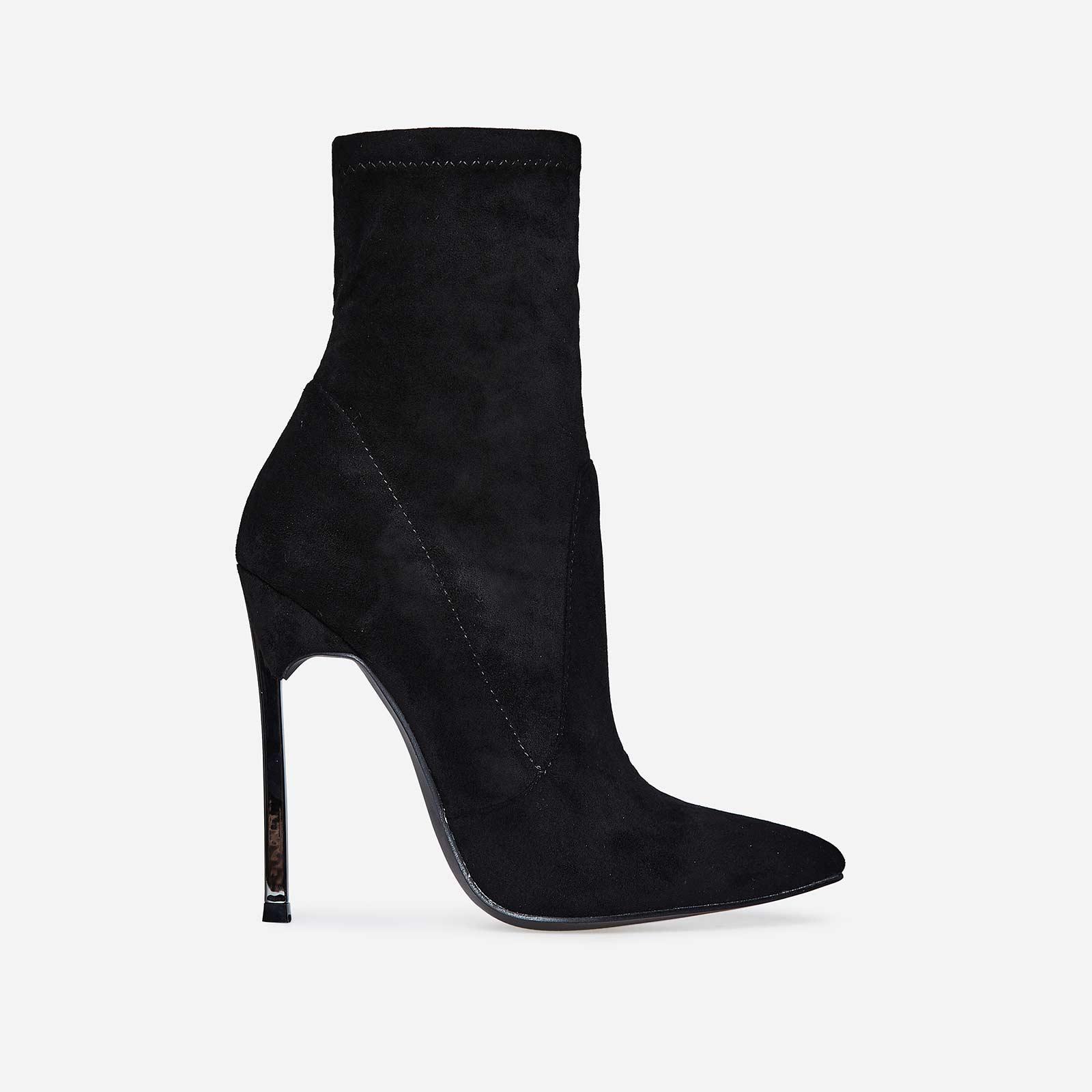Ava Skinny Heel Pointed Toe Sock Boot In Black Faux Suede