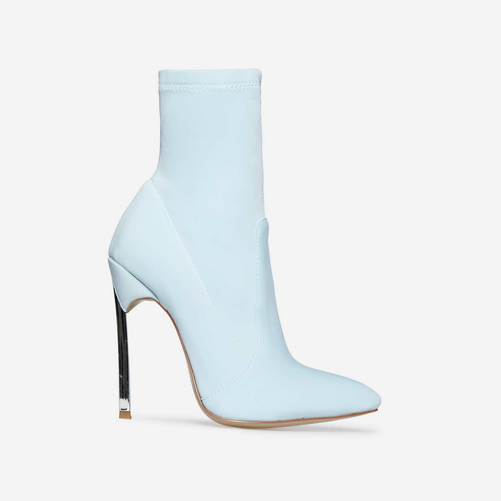 Ava Skinny Heel Pointed Toe Sock Boot In Pastel Blue Lycra
