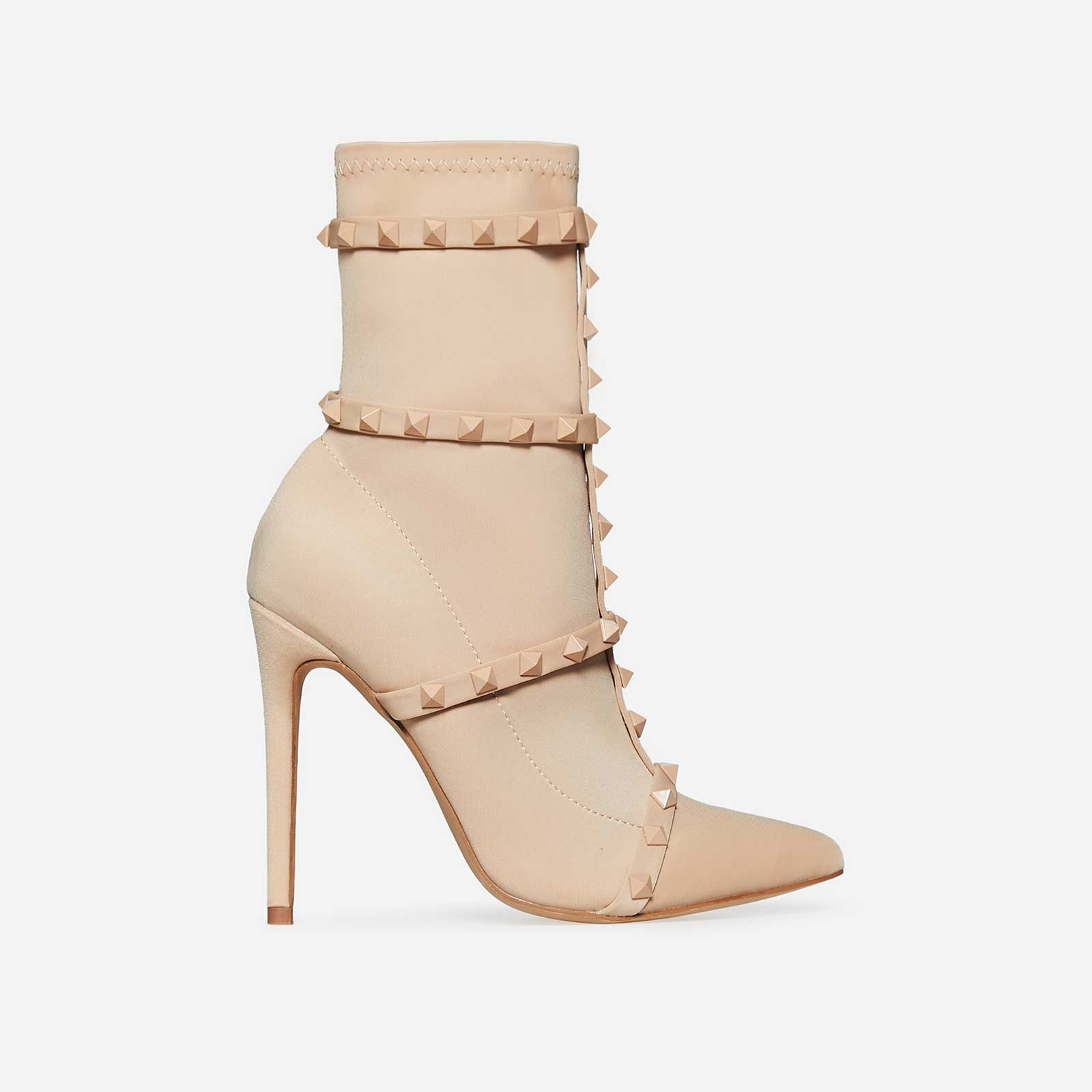 Axel Studded Detail Sock Boot In Nude Lycra