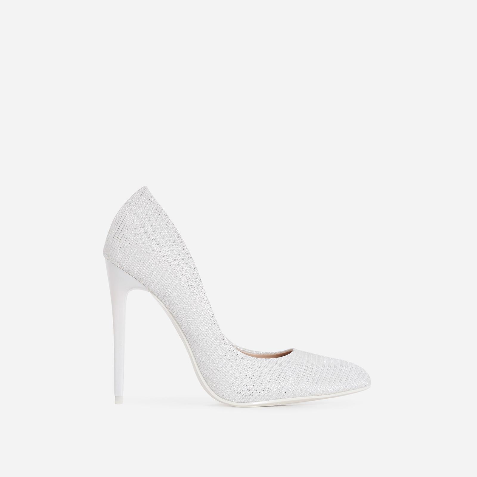 Mira Court Heel In Metallic White Fabric