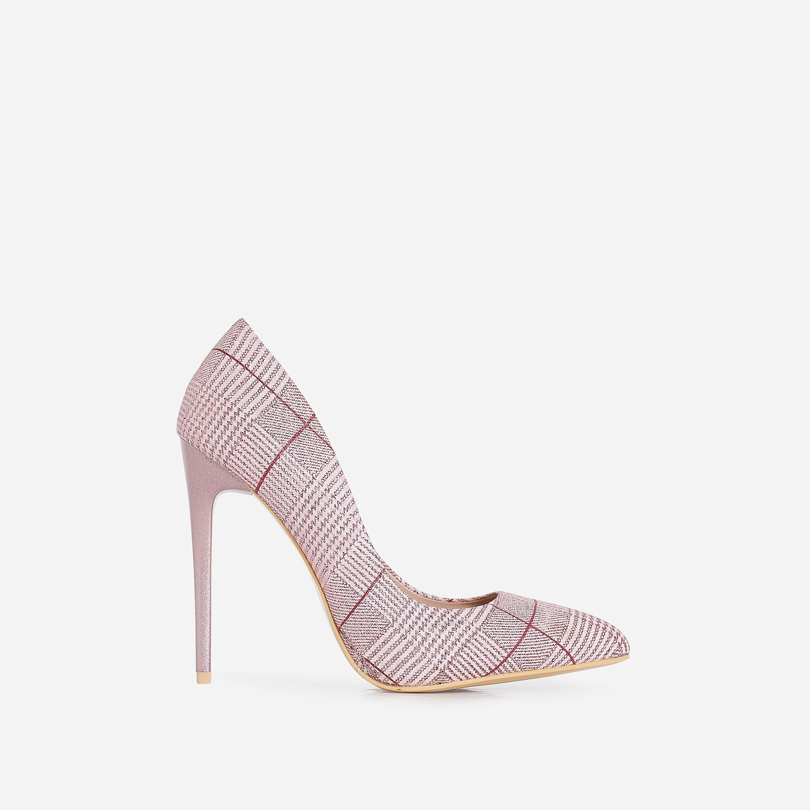 Gina Court Heel In Metallic Pink Tartan Fabric