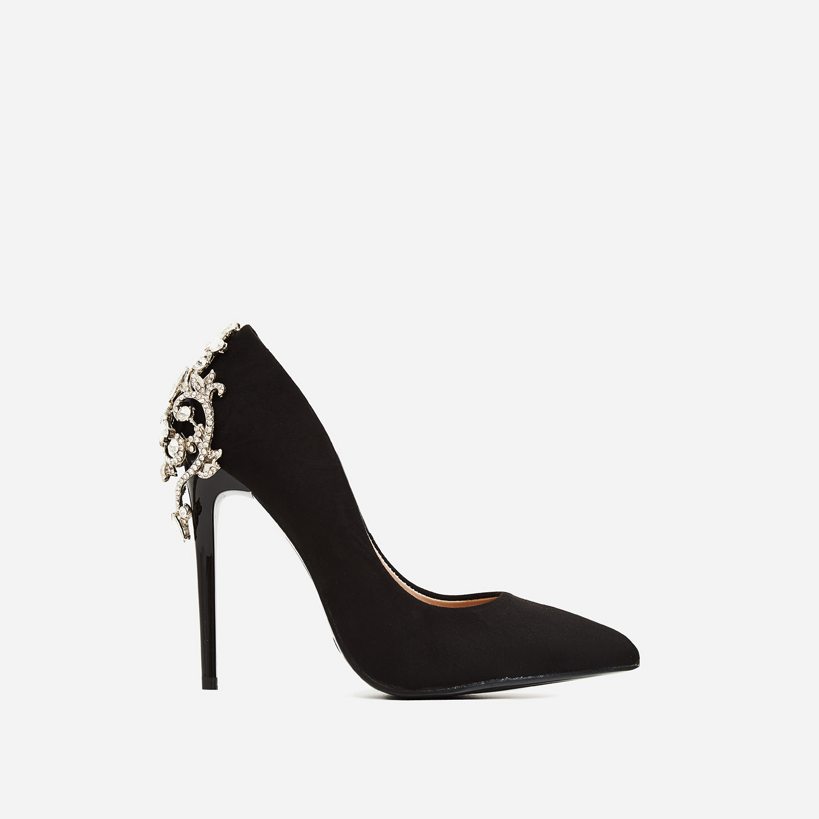 Aries Jewel Embellished Court Heel In Black Faux Suede
