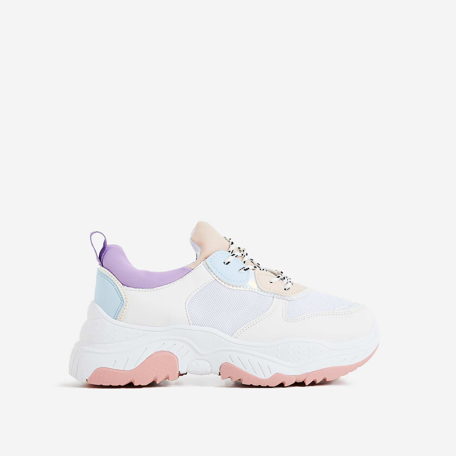 Alessio Chunky Sole Trainer In White and Pink