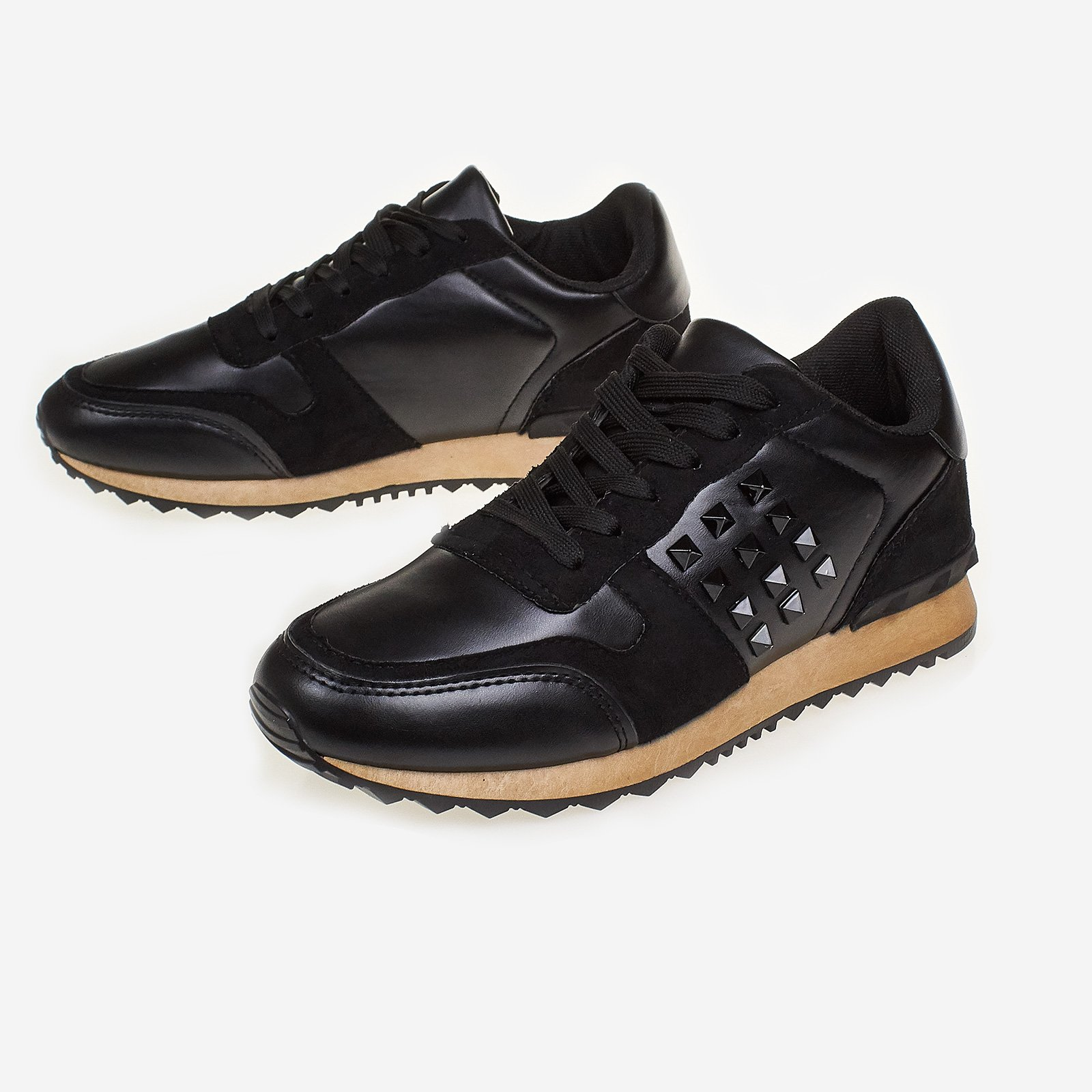 Franca Studded Trainer In Black Faux Leather