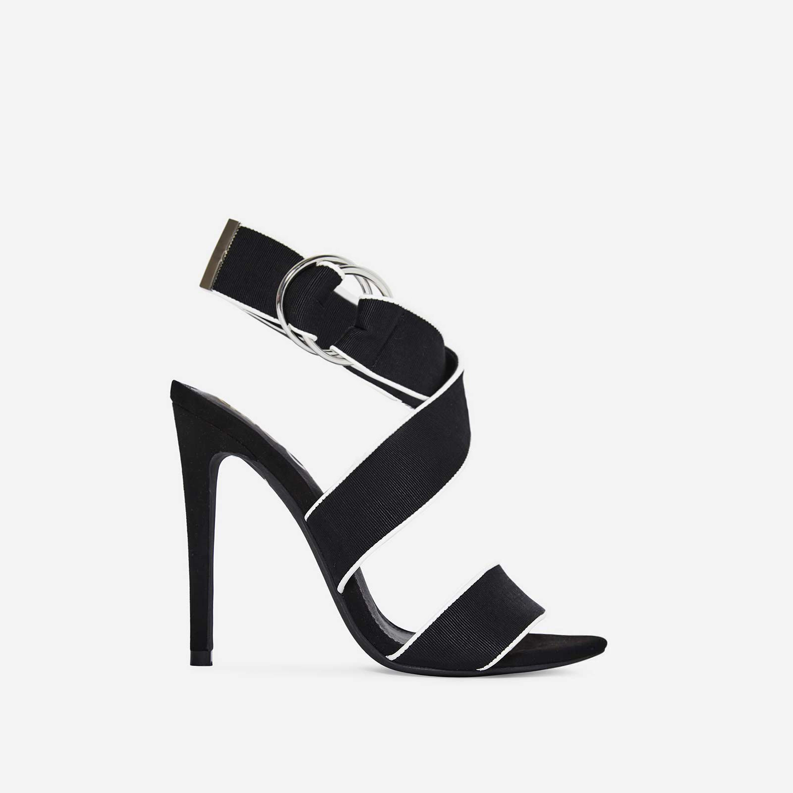 Babylon Grosgrain Strap Heel In Black Faux Suede