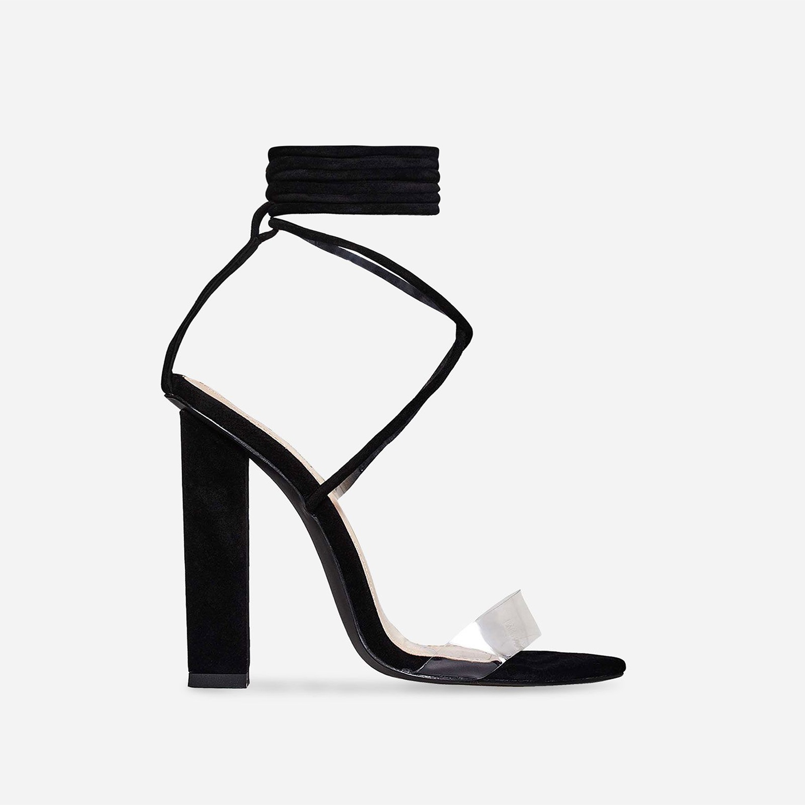 Bello Perspex Lace Up Block Heel In Black Faux Suede