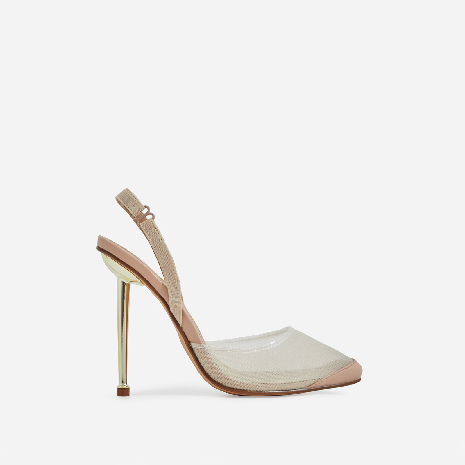 Bestie Mesh Detail Heel In Nude Faux Leather