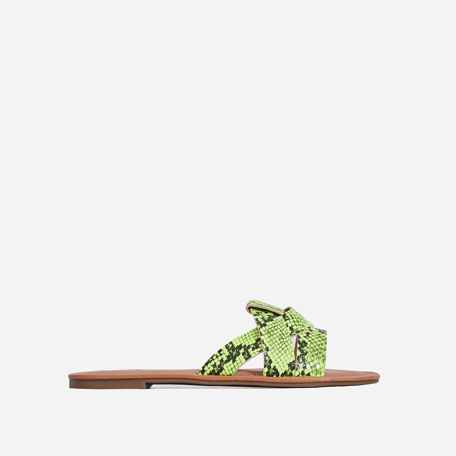 Billie Flat Sandal In Lime Green Snake Print Faux Leather