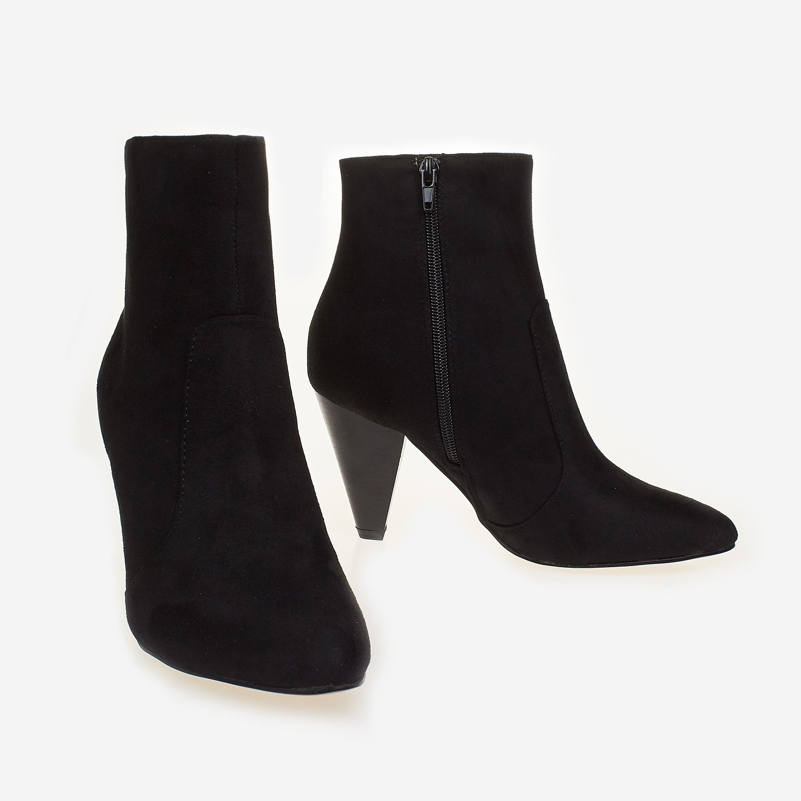 Bethany Pointed Heel Ankle Boot In Black Faux Suede
