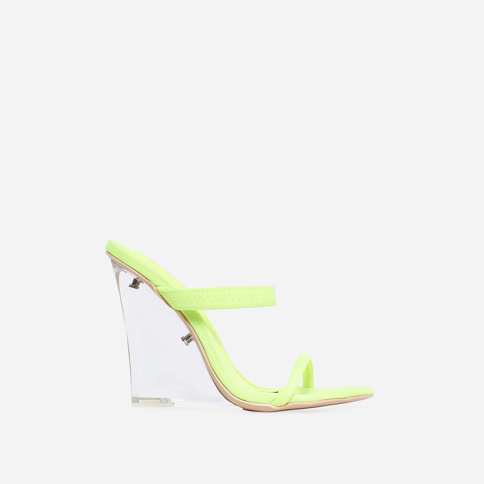 Bliss Perspex Wedge Mule In Lime Green Lycra