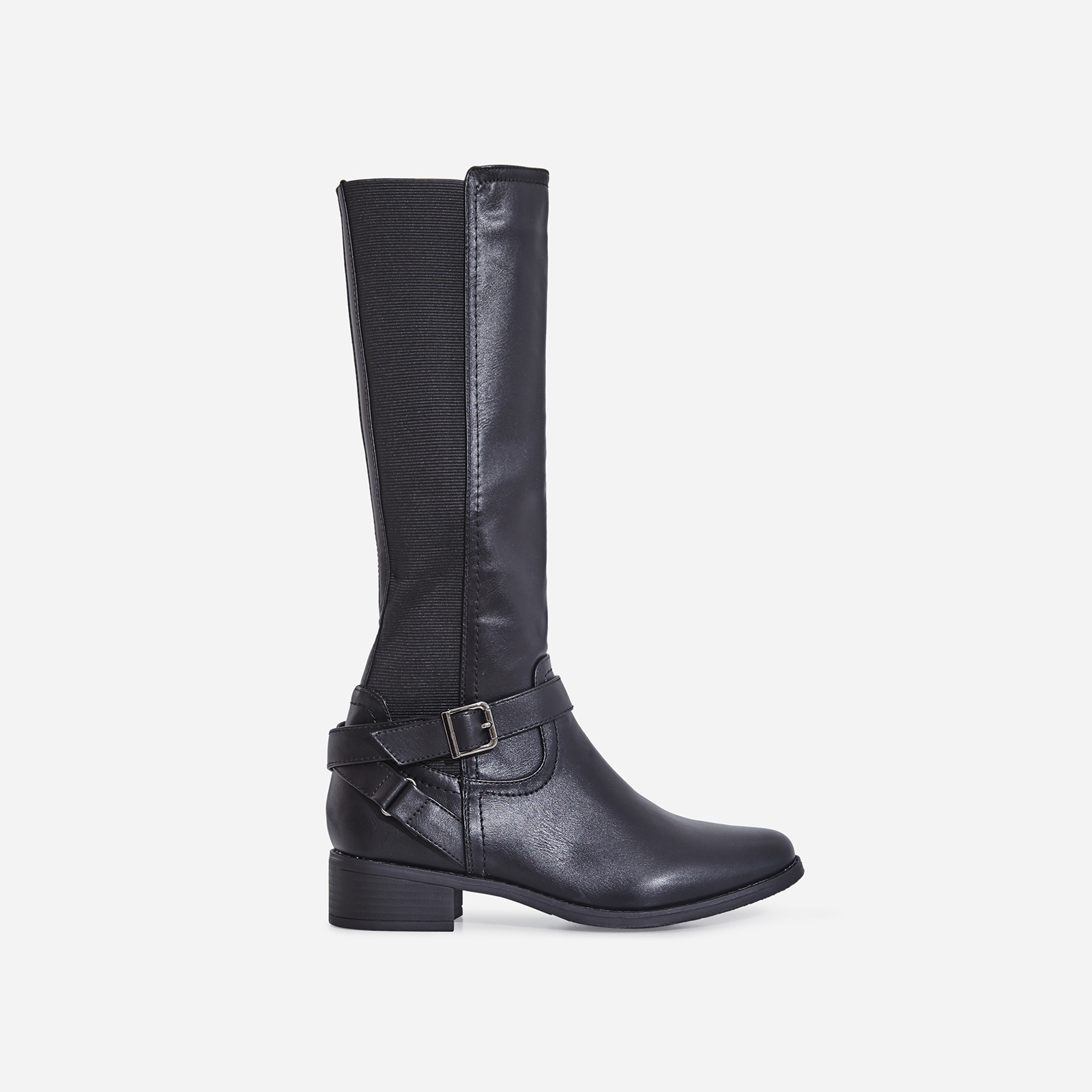 Rosie Buckle Detail Ankle Boot In Black Faux Leather