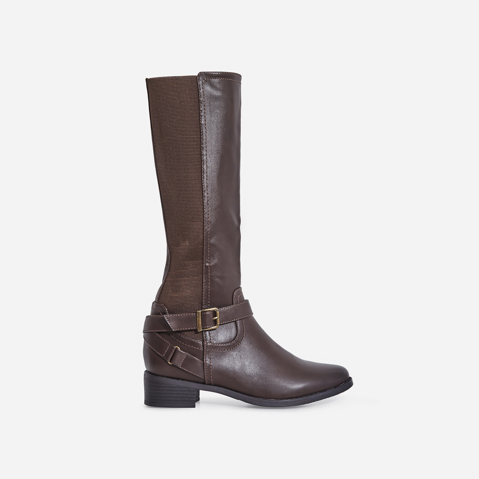 Rosie Buckle Detail Ankle Boot In Brown Faux Leather