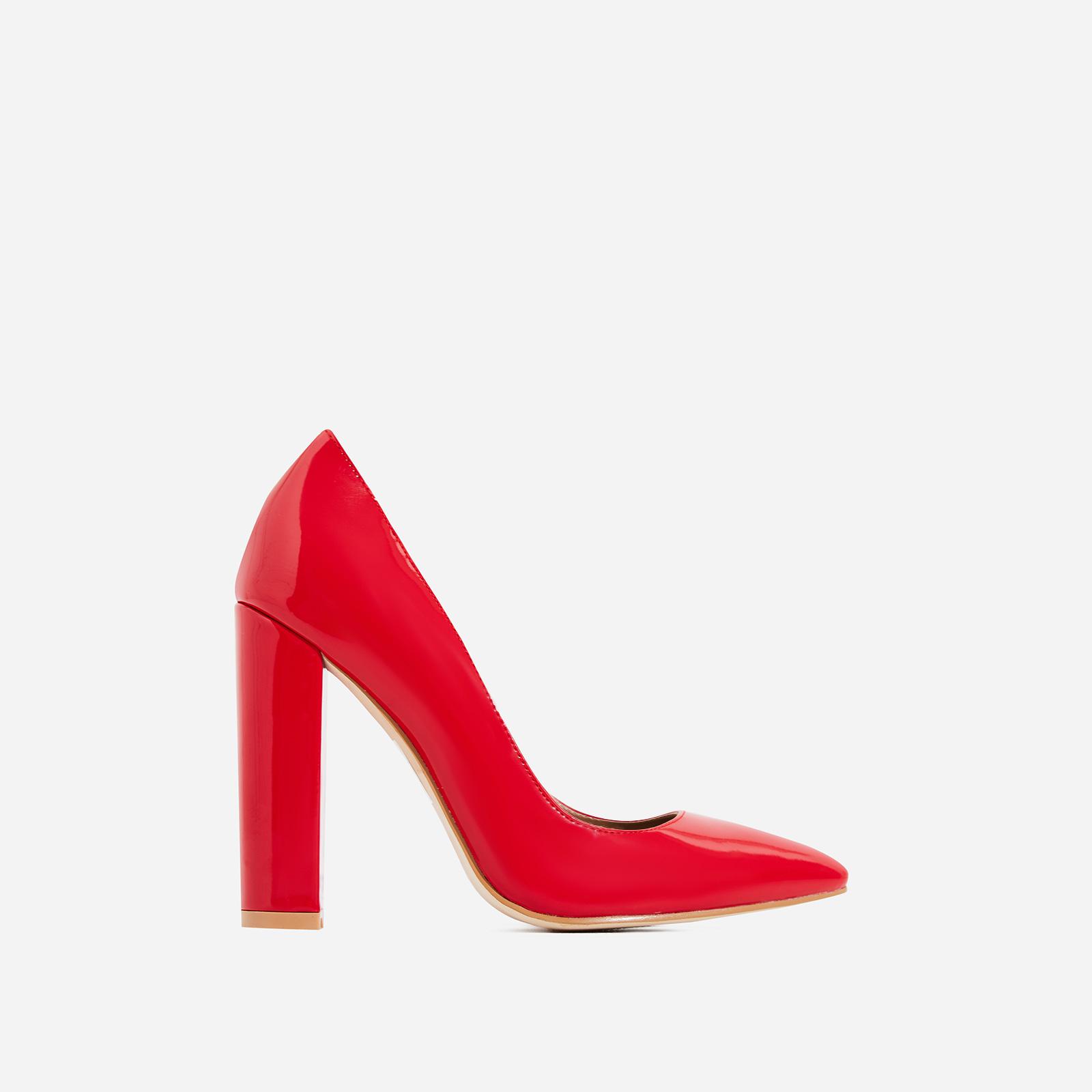Bobbi Block Court Heel In Red Patent