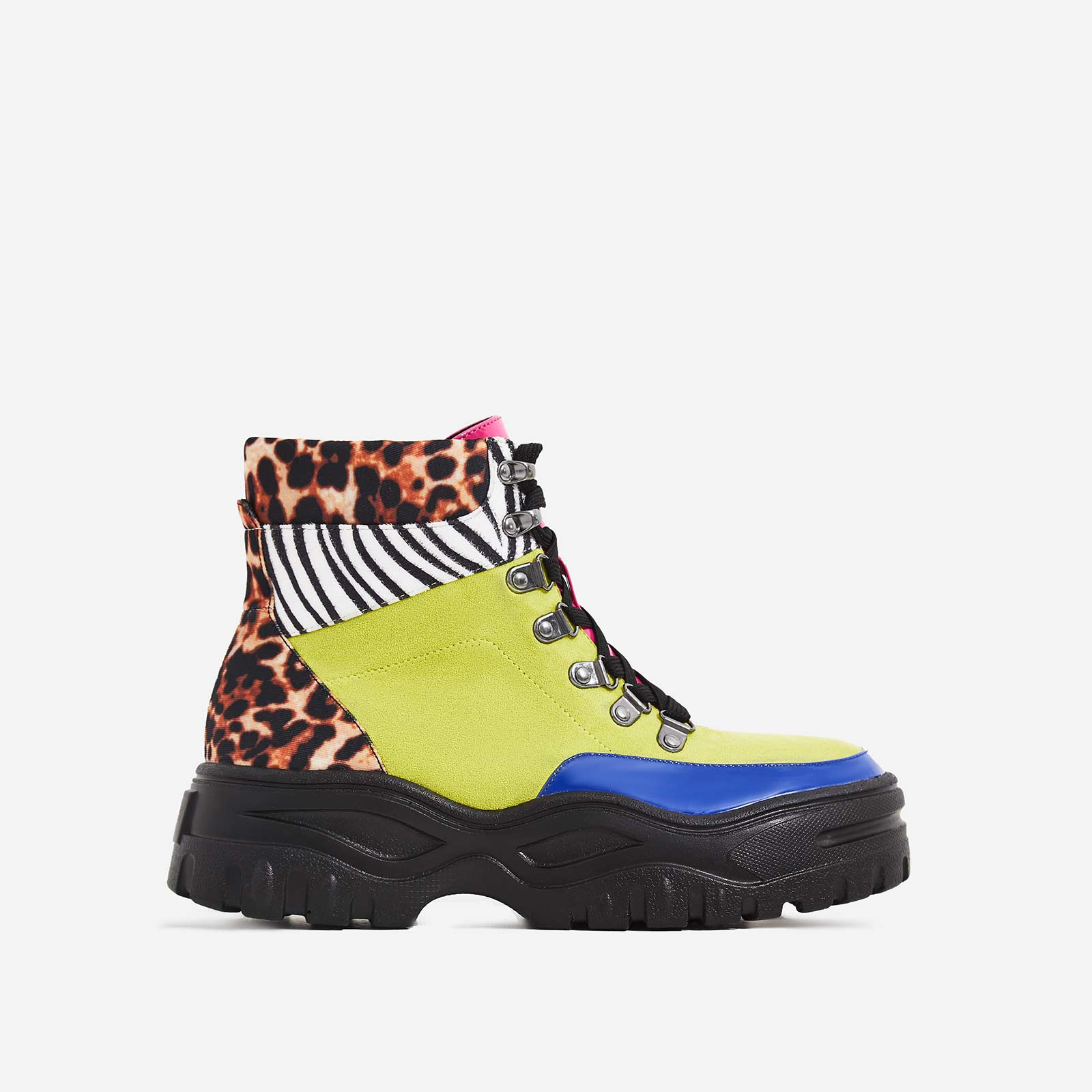 Boden Chunky Sole Lace Up Ankle Boot In Multi Colour