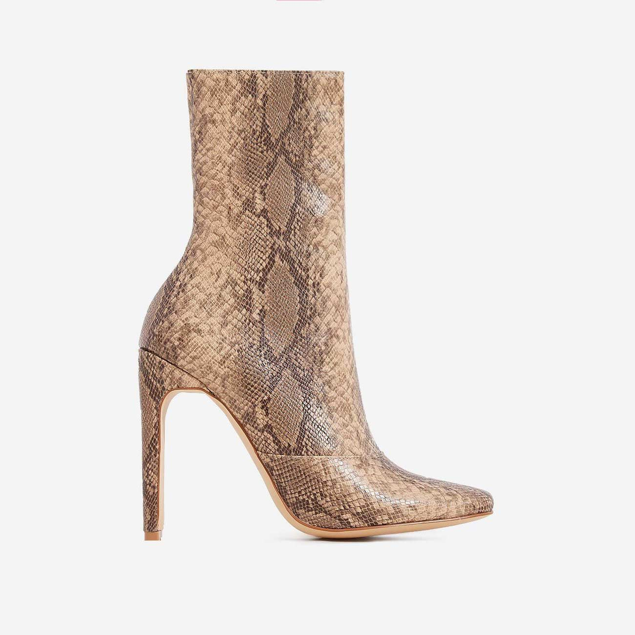 48c195ba6322 Boomslang Flat Heel Ankle Boot In Nude Snake Print Faux Leather