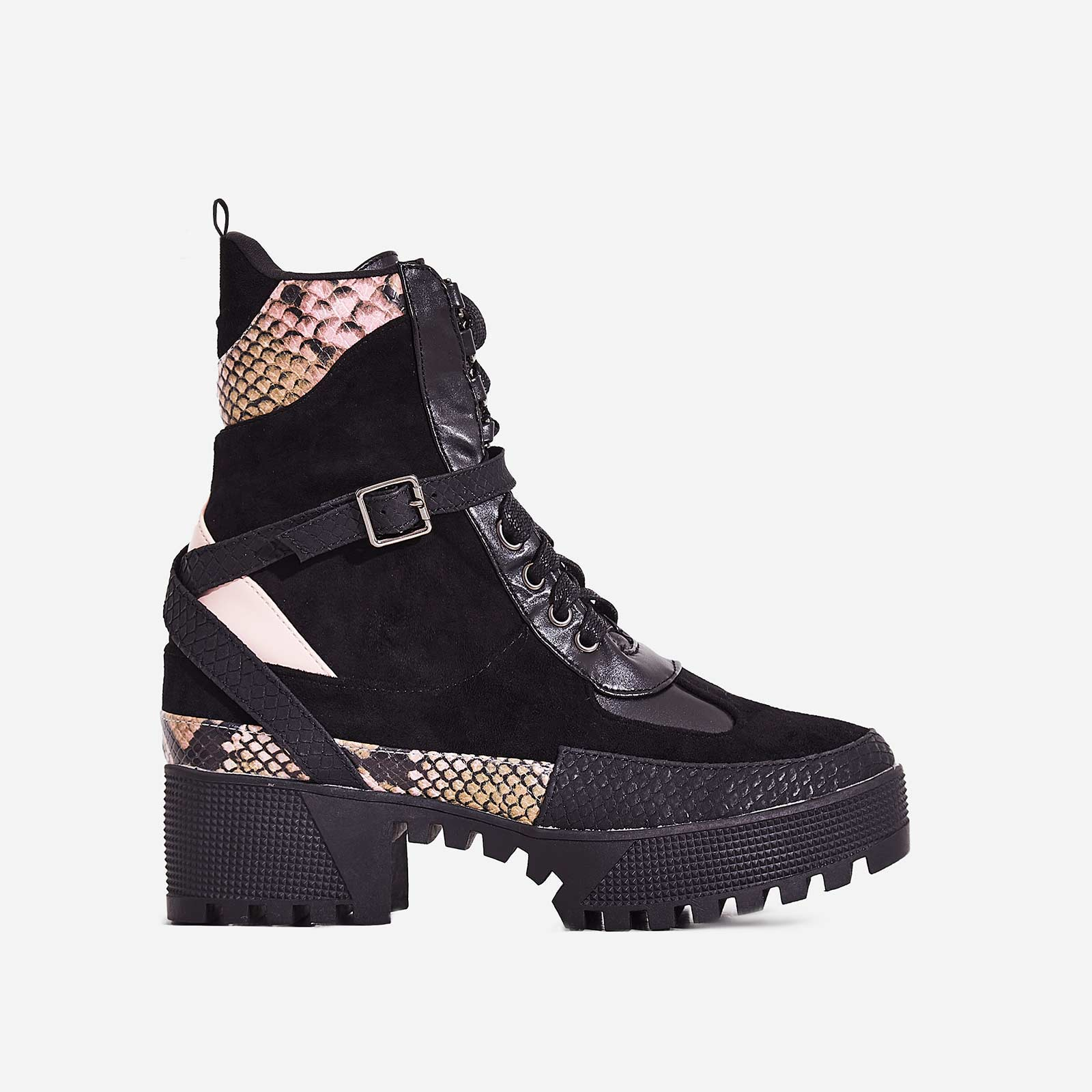 Boujee Chunky Sole Lace Up Ankle Boot In Black