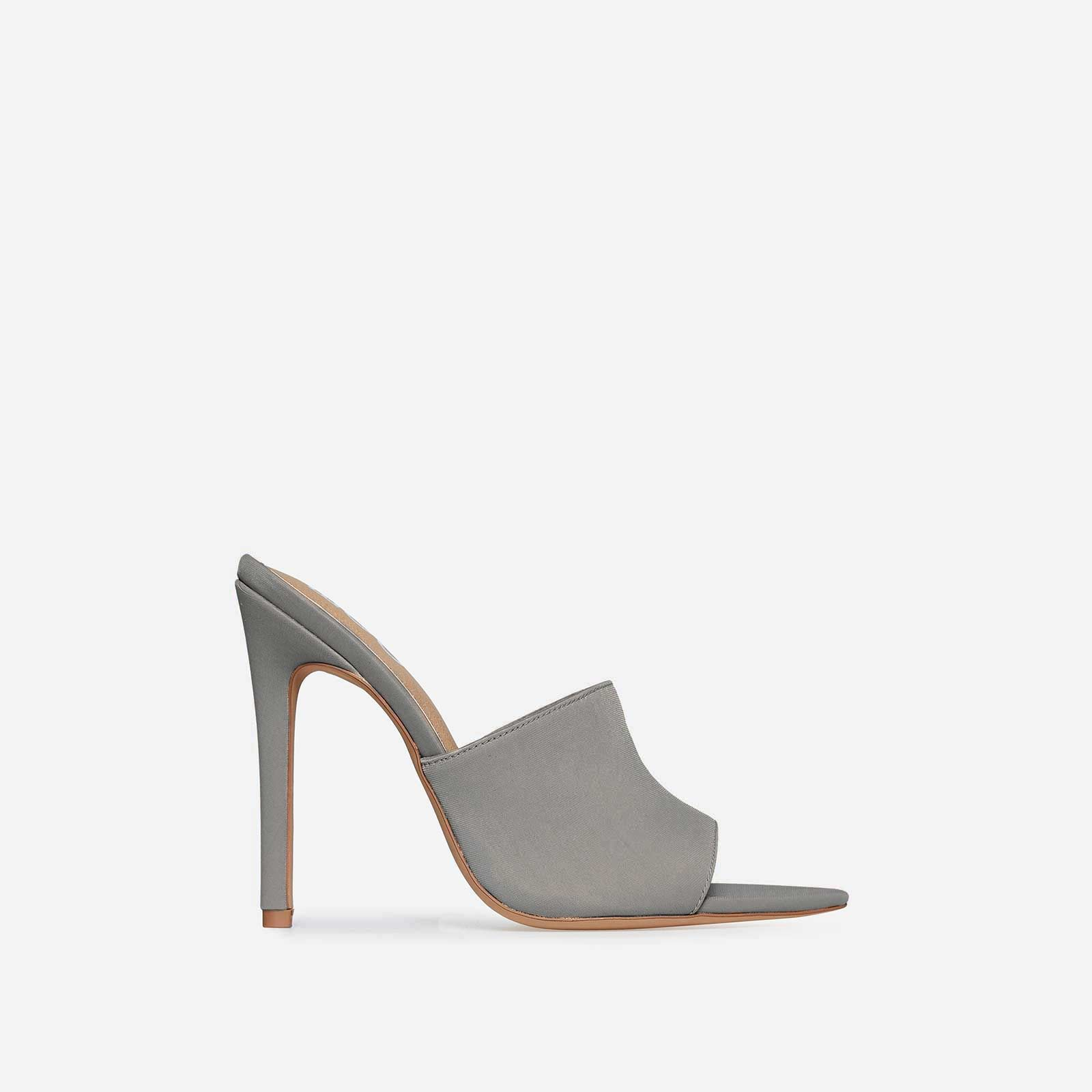 Briana Pointed Peep Toe Mule In Grey Lycra