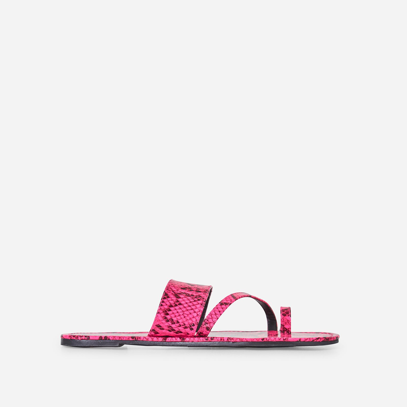Brock Toe Strap Slider In Pink Snake Print Faux Leather