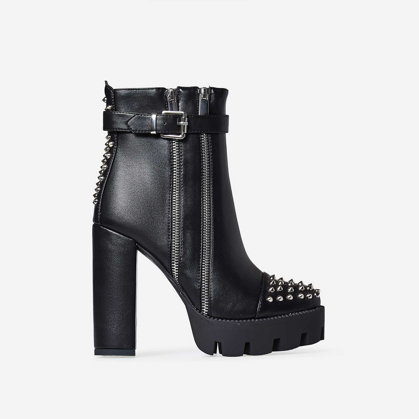Brody Zip And Studded Detail Platfrom Biker Boot In Black Faux Leather