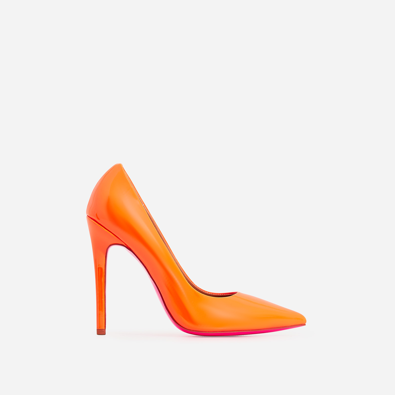 Bronte Court Heel In Neon Orange Patent