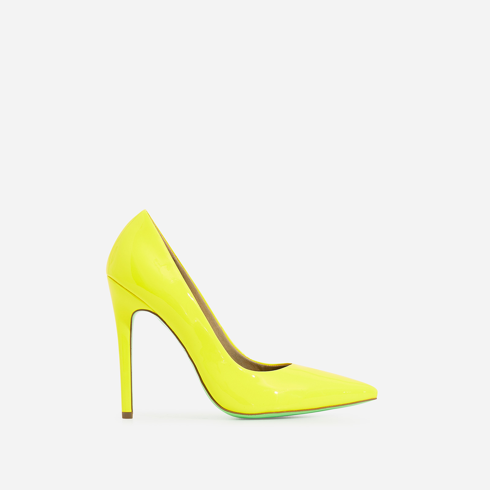 Bronte Court Heel In Neon Yellow Patent