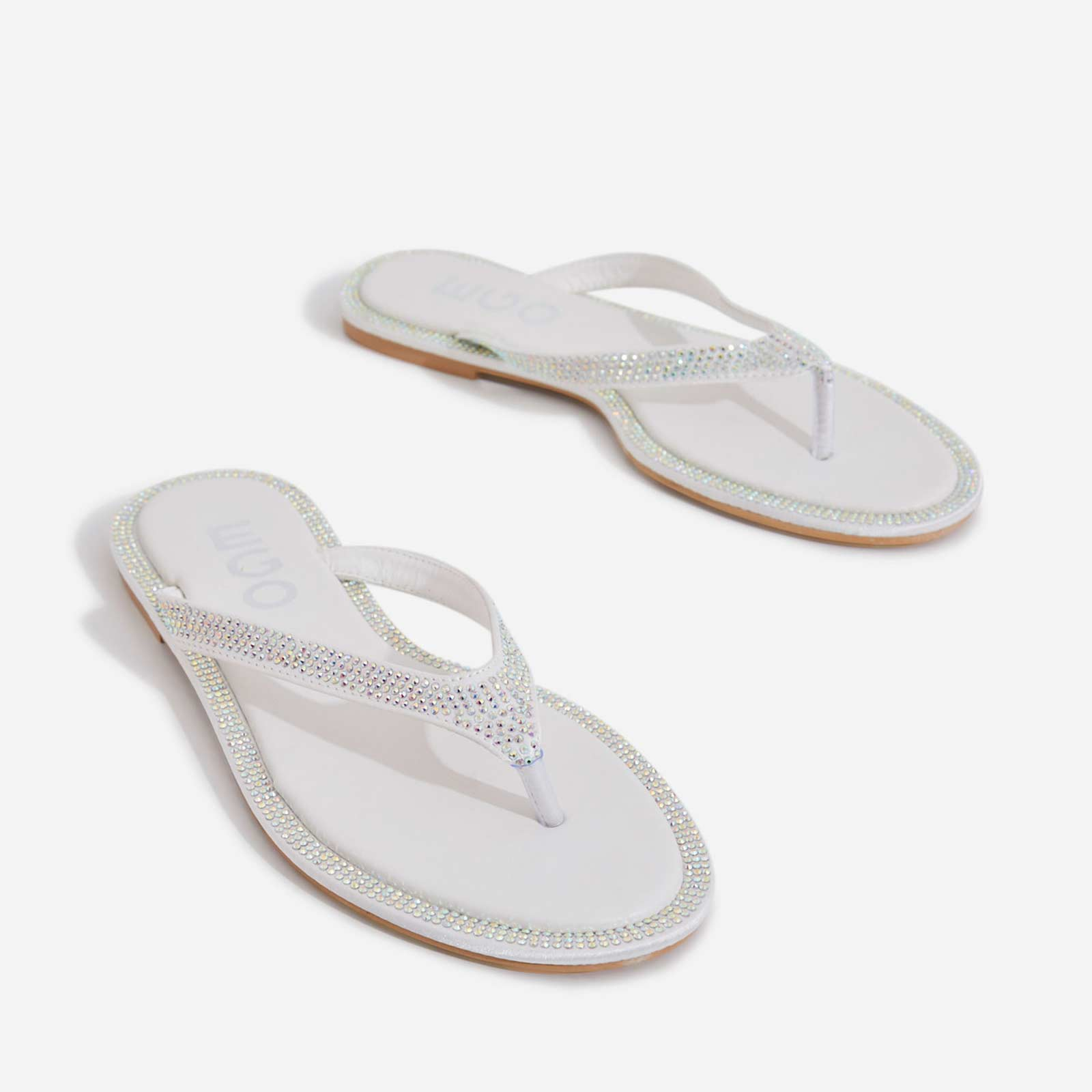 Butterfly Diamante Detail Flat Sandal In White Faux Leather
