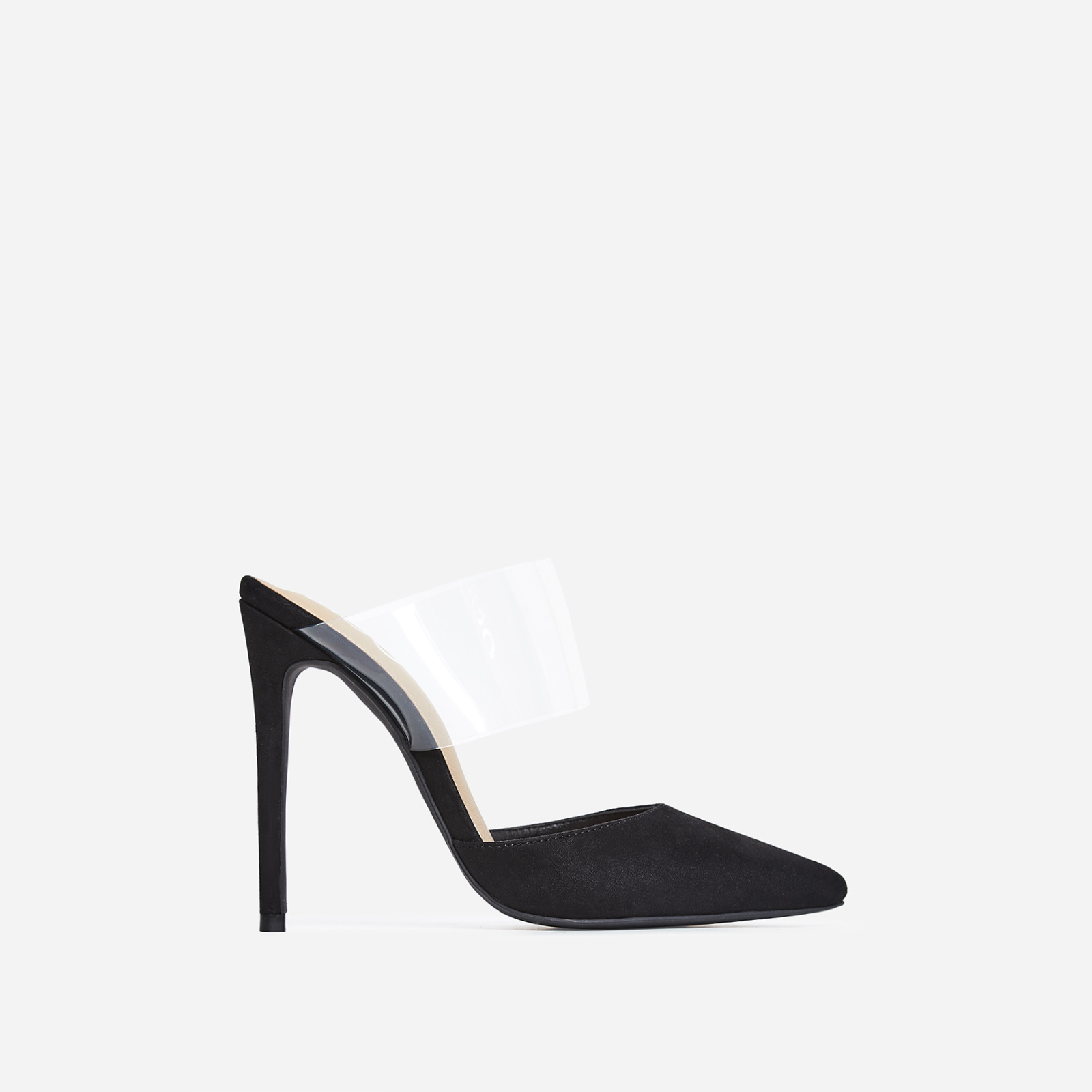 Caillin Perspex Mule In Black Faux Suede