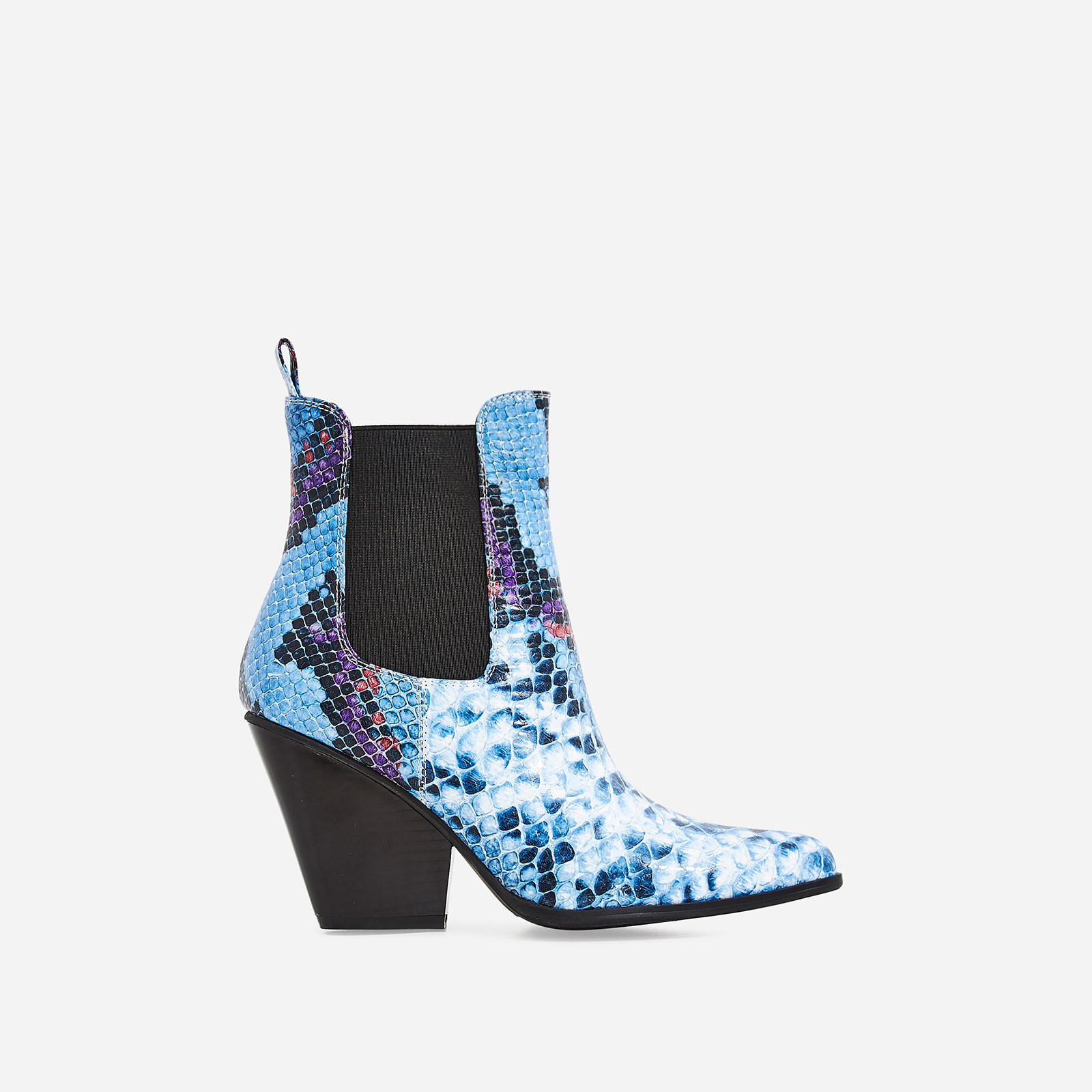 Camille Western Ankle Boot In Blue Snake Print Faux Leather