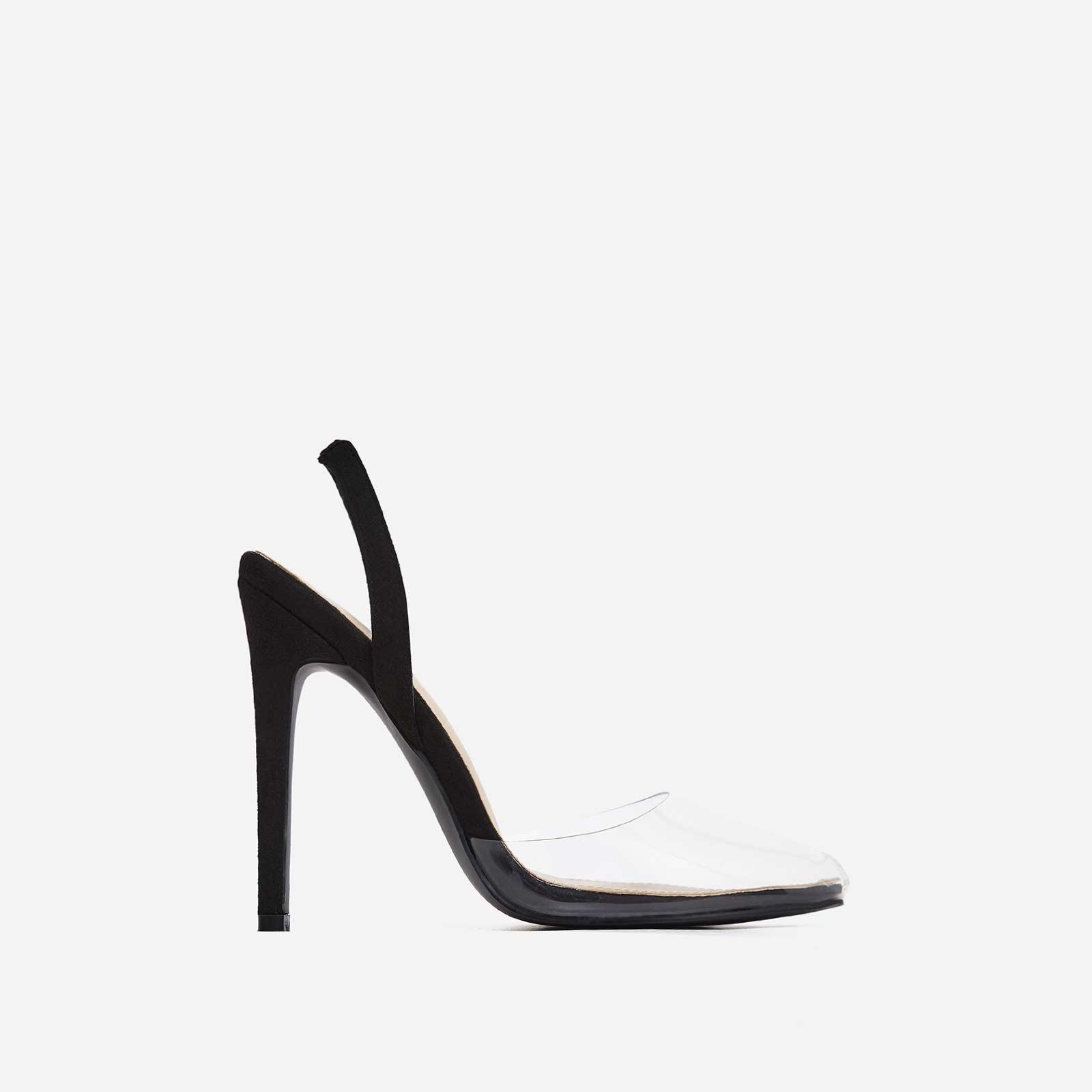 Cape Perspex Heel In Black Faux Suede