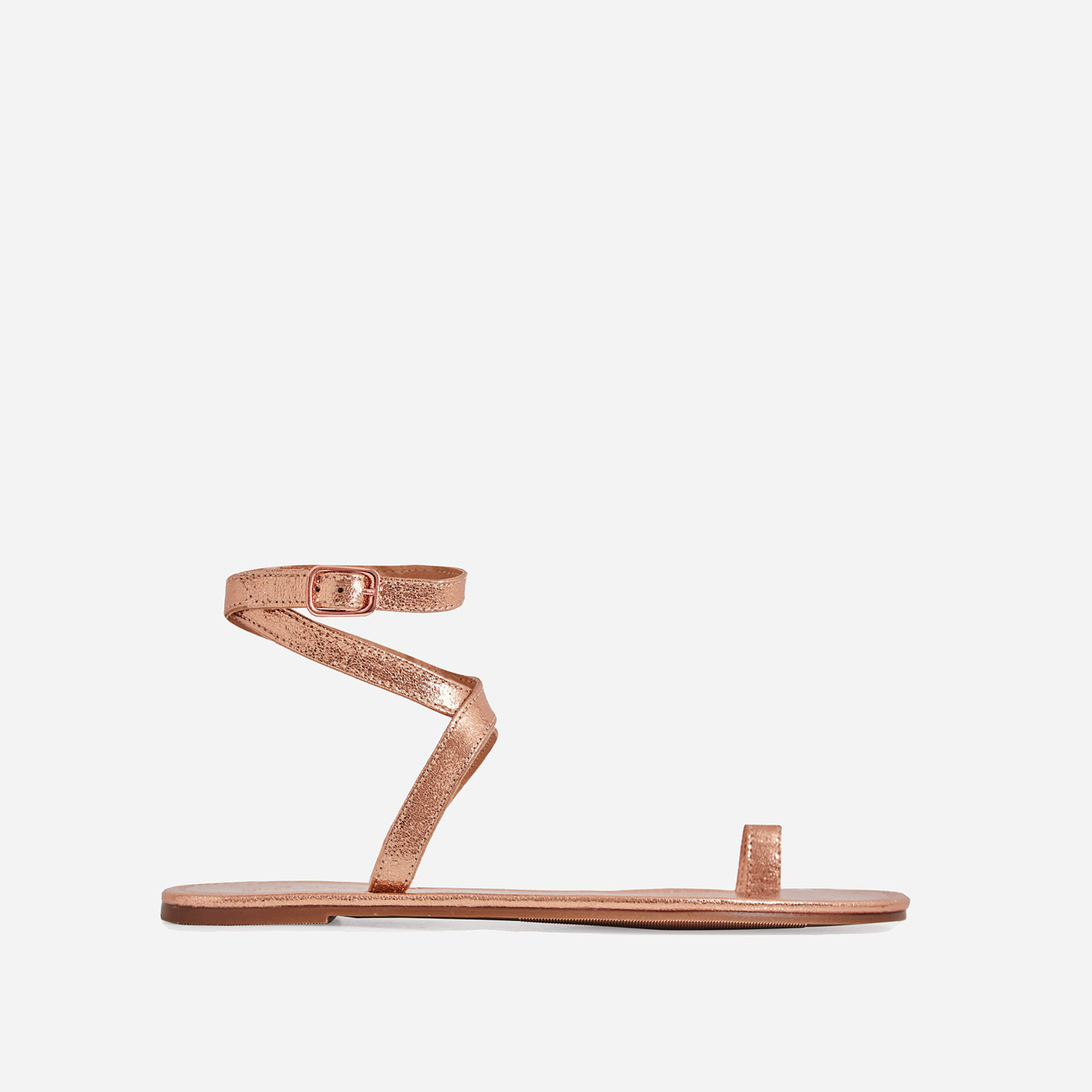 Cara Lace Up Toe Strap Flat Sandal In Rose Gold Faux Leather