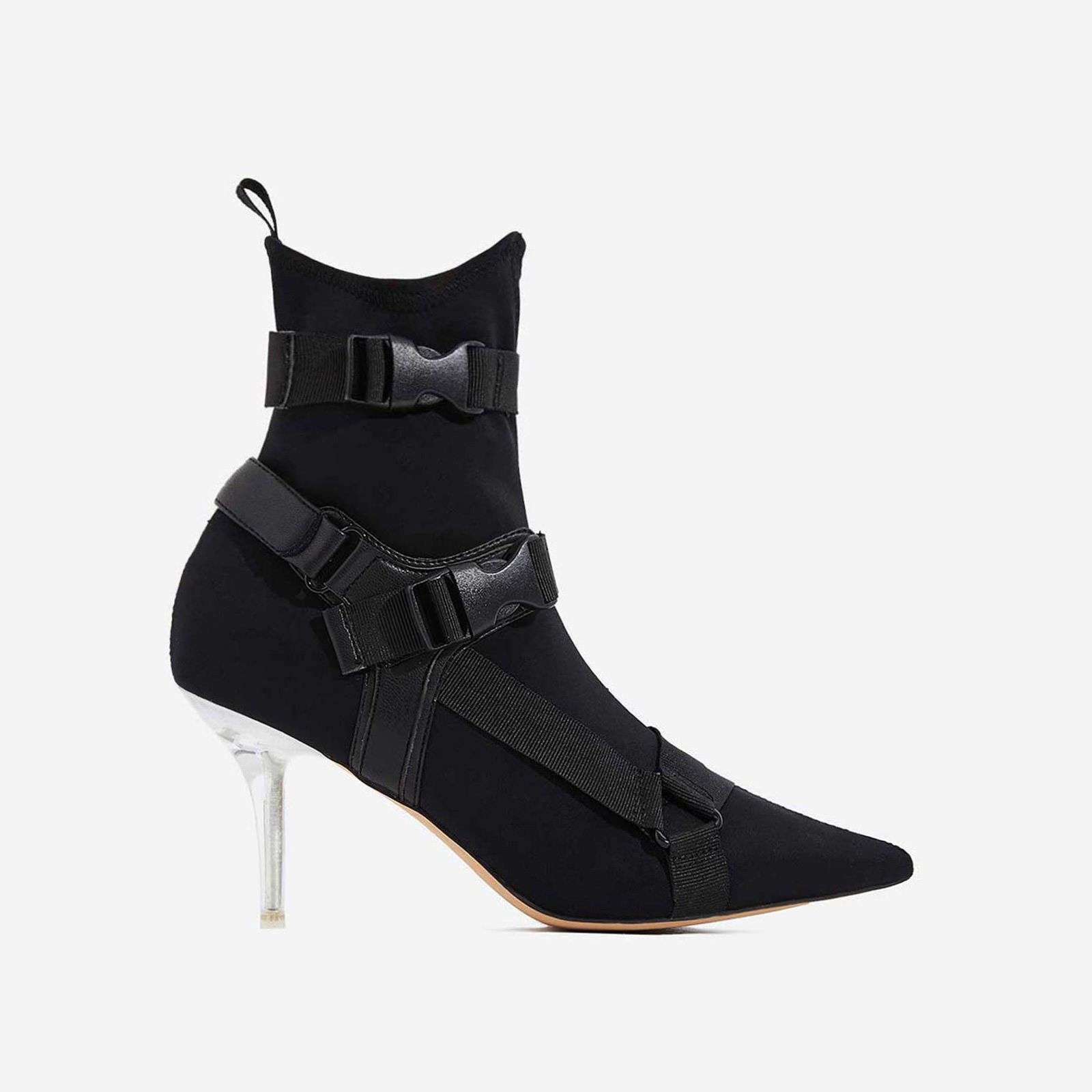 Cassie Perspex Buckle Detail Ankle Sock Boot In Black Lycra