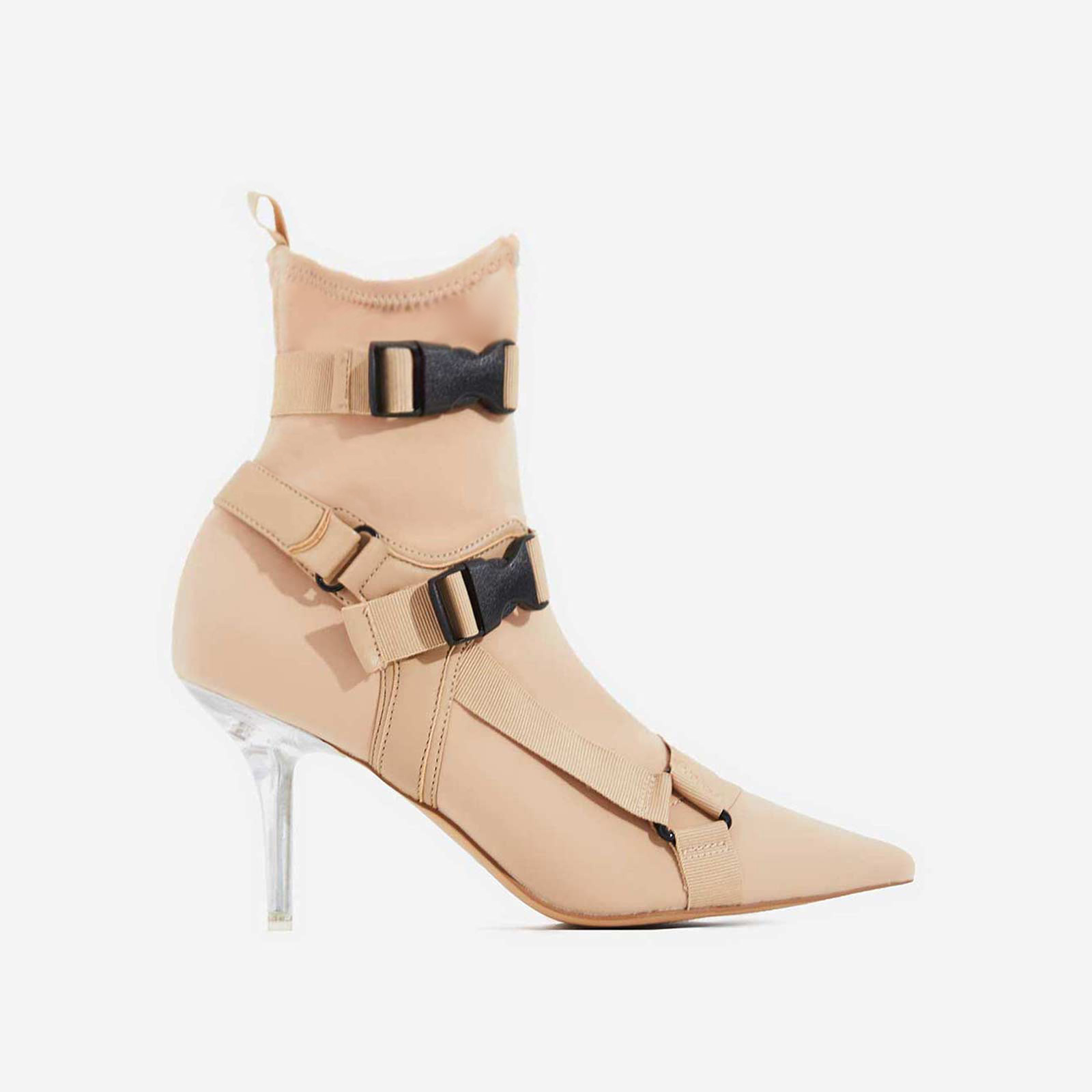 Cassie Perspex Buckle Detail Ankle Sock Boot In Nude Lycra