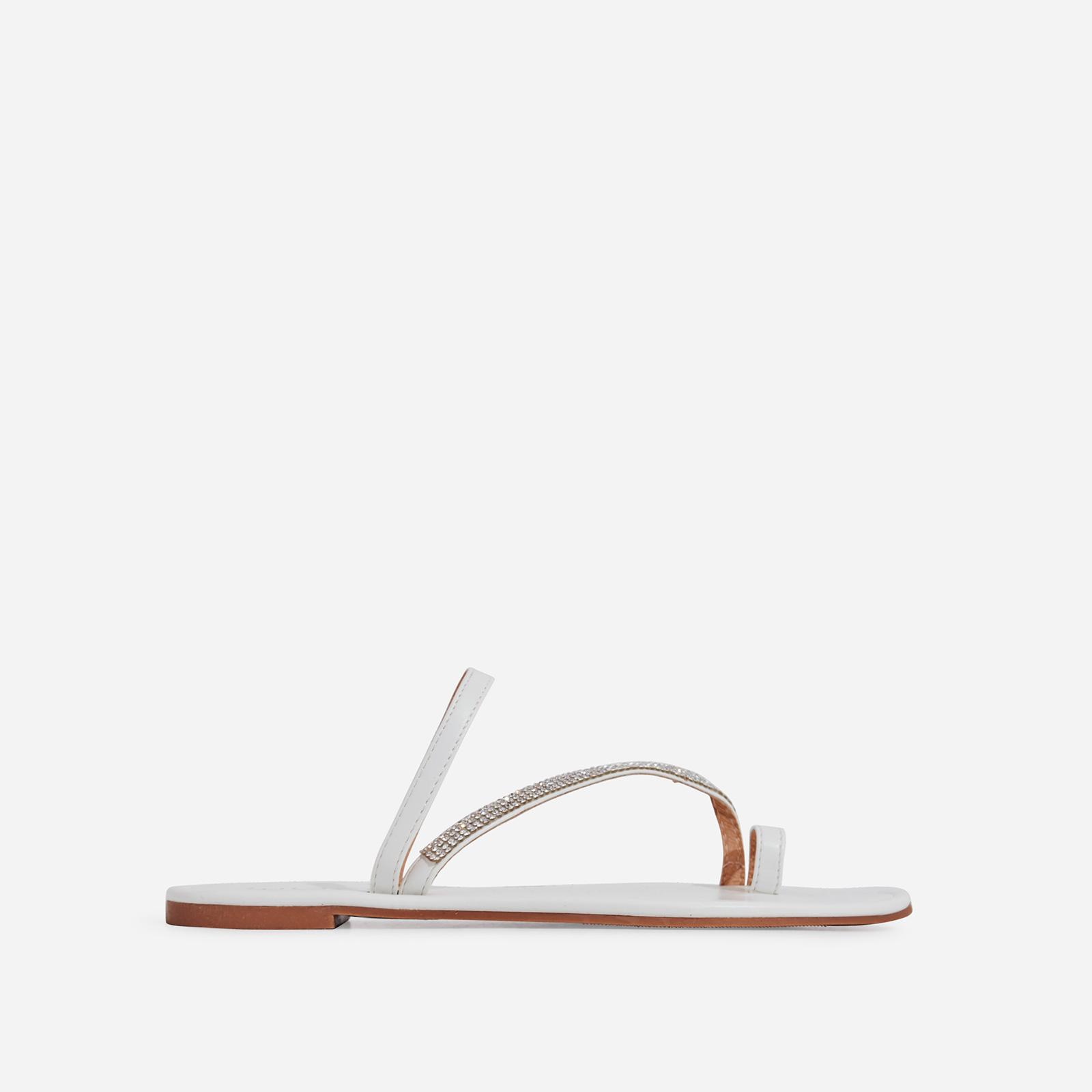 Casta Diamante Detail Toe Strap Slider In White Faux Leather