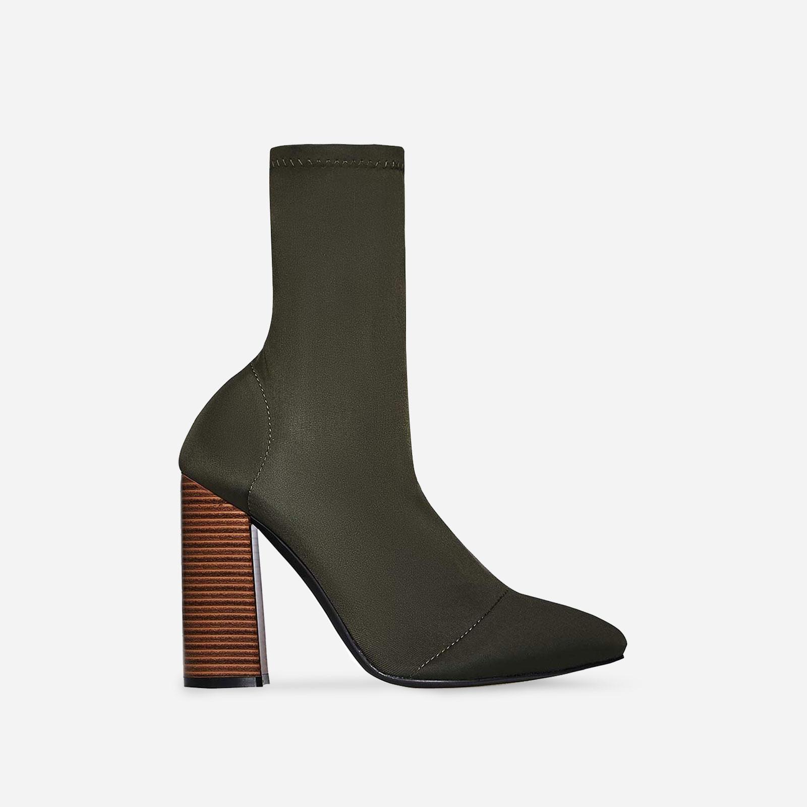 Charlie Block Heel Ankle Boot In Khaki Lycra Image 1