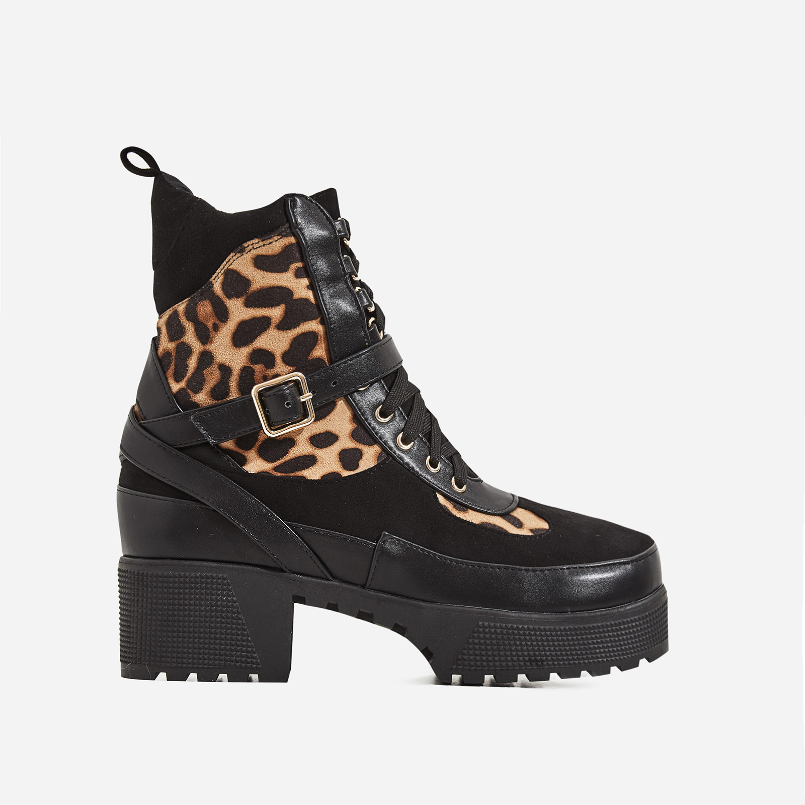 Chase Chunky Sole Leopard Print Detail Ankle Biker Boot In Black Faux Suede