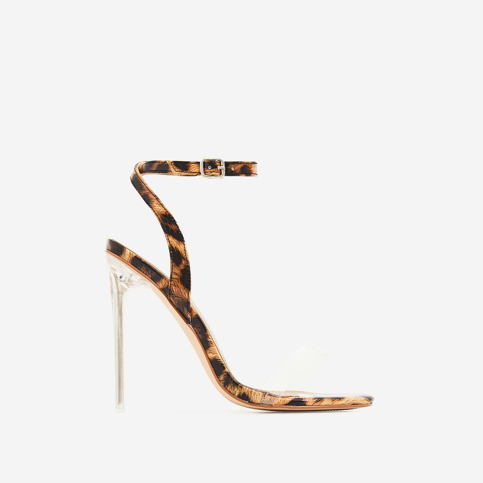 Chrissy Perspex Pointed Barely There Heel In Tan Leopard Print Patent