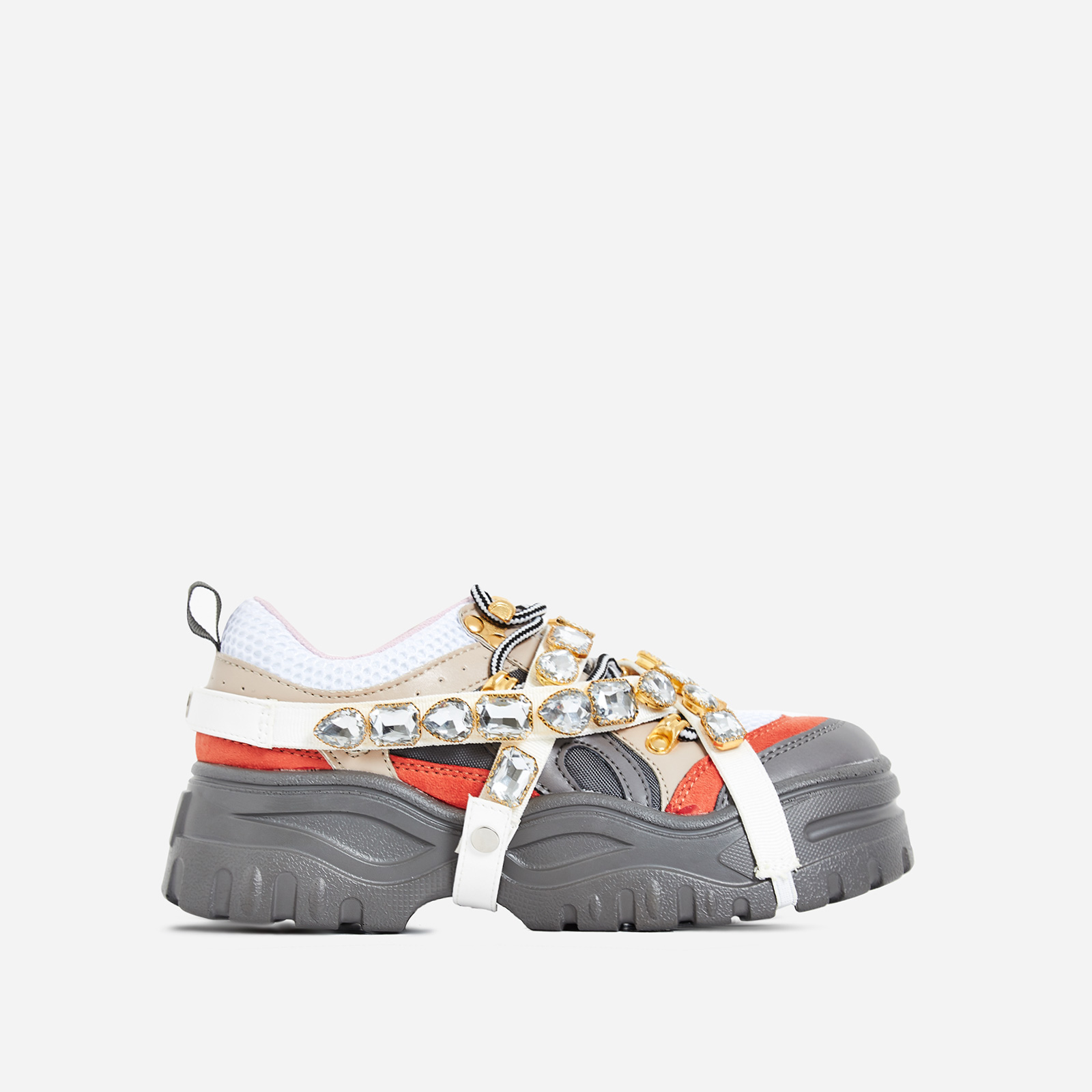 Fever Gem Embellished Trainers In Grey Faux Leather