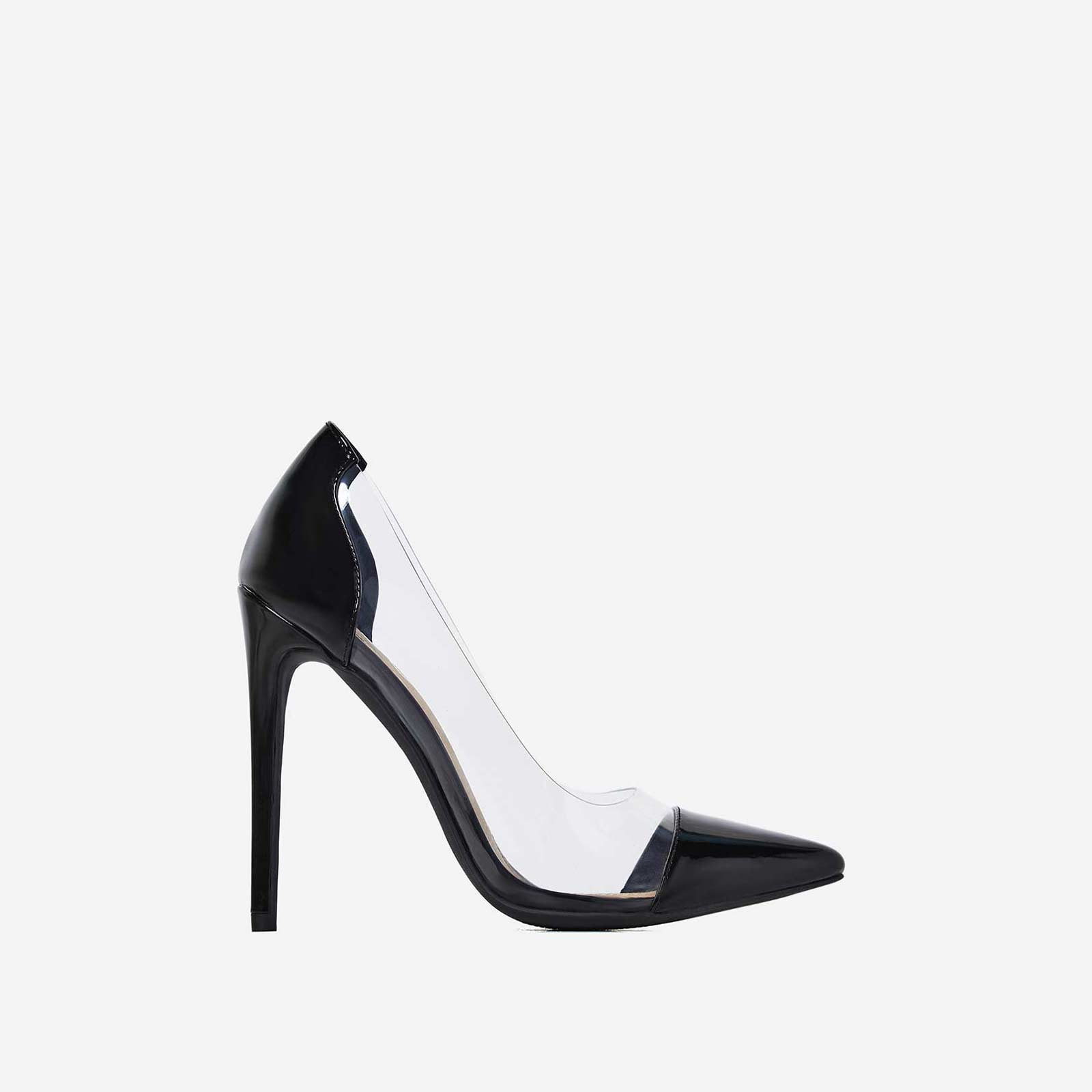 Cici Perspex Court Heel In Black Patent