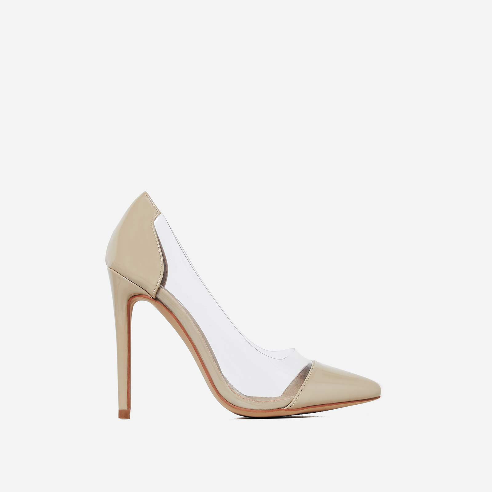 Cici Perspex Court Heel In Nude Patent