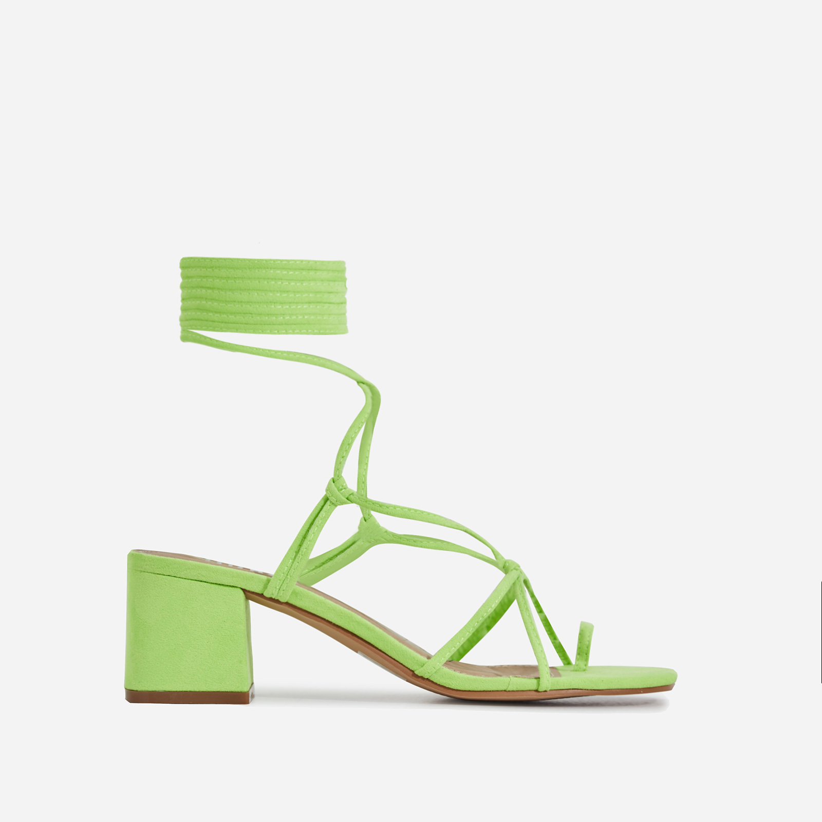 Circe Midi Block Heel Lace Up Heel In Lime Green Faux Suede