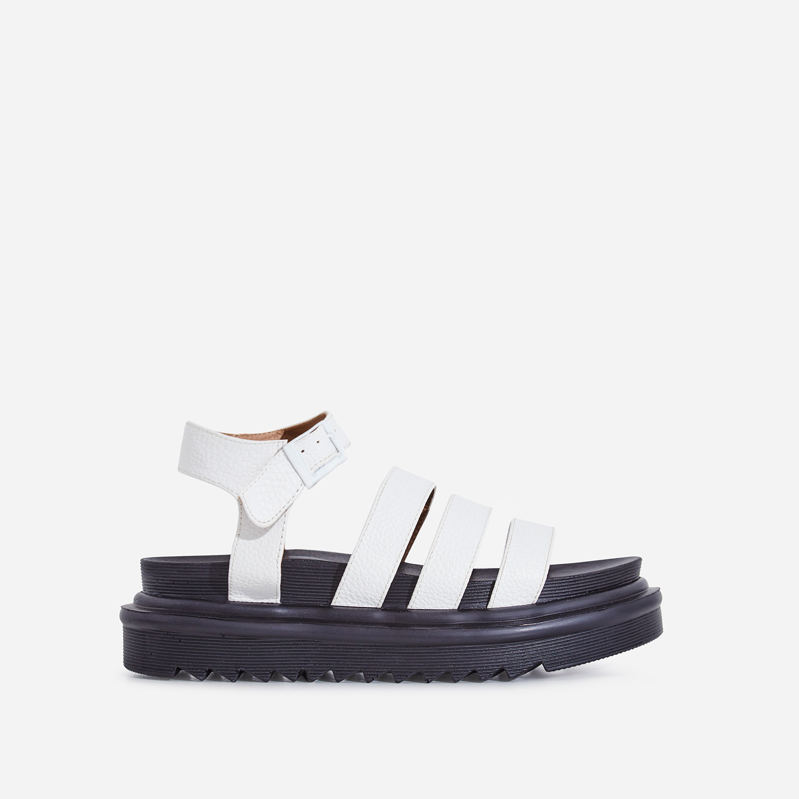 Clueless Chunky Sole Sandal In White Faux Leather