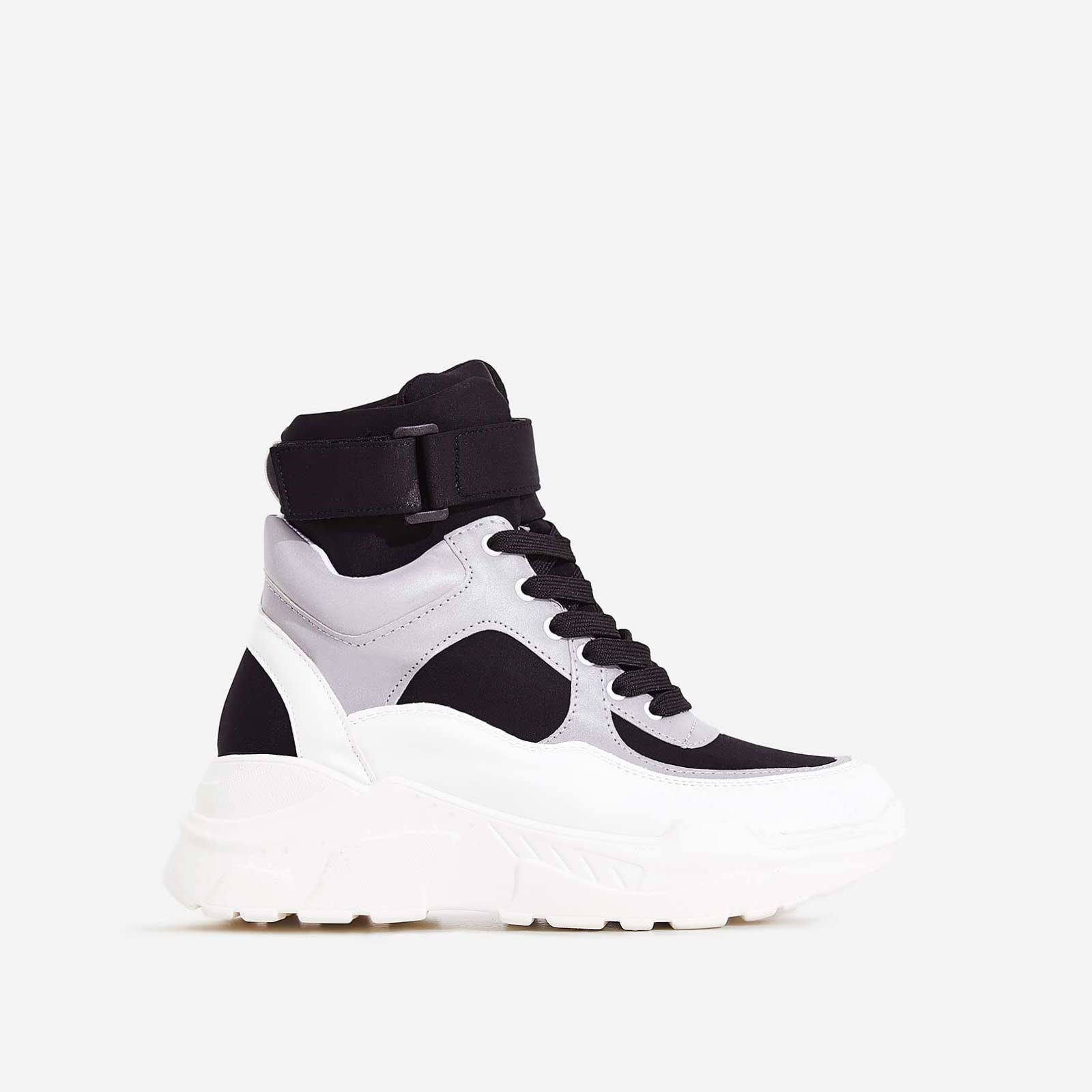 Coco High Top Reflective Trainer In Black