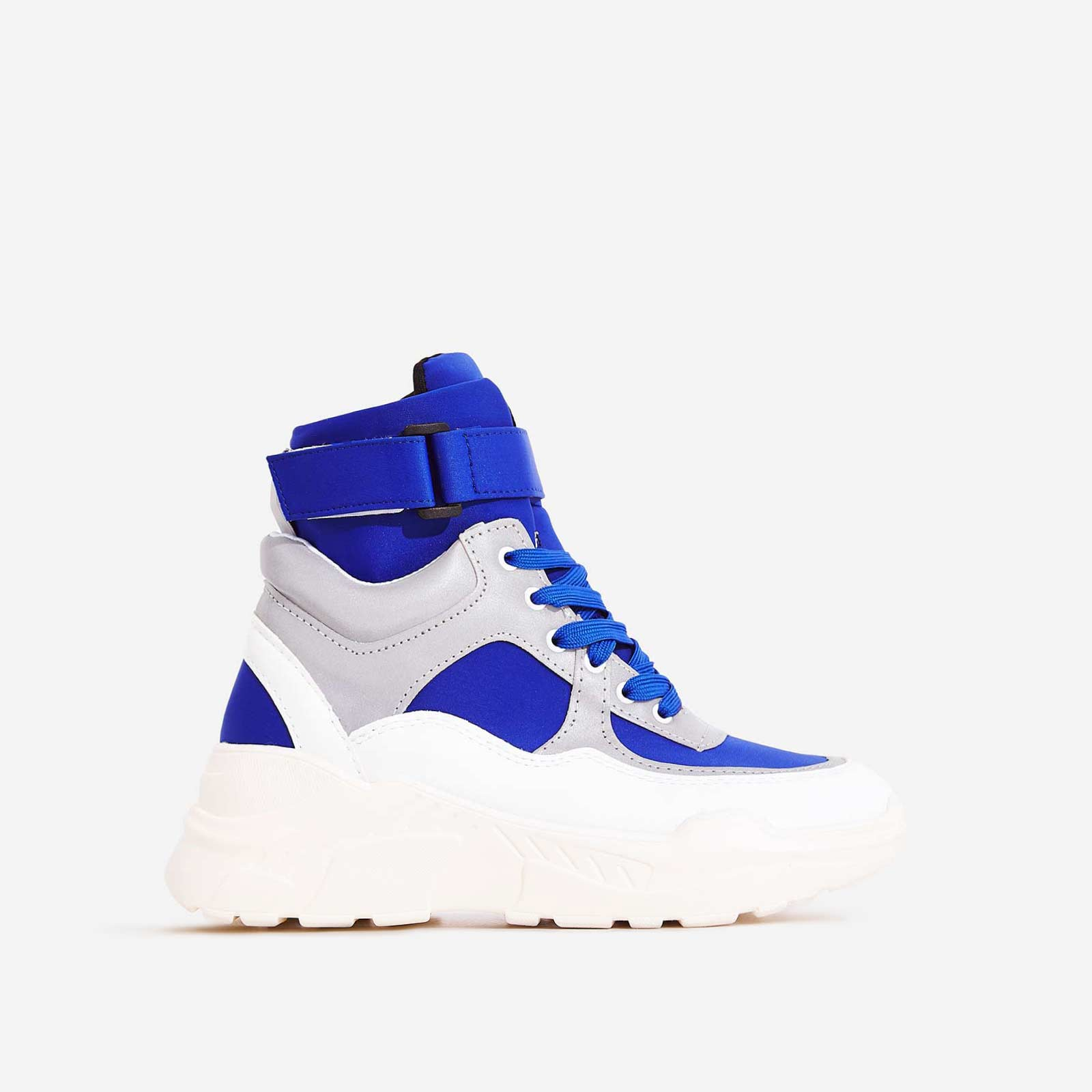 Coco High Top Reflective Trainer In Blue