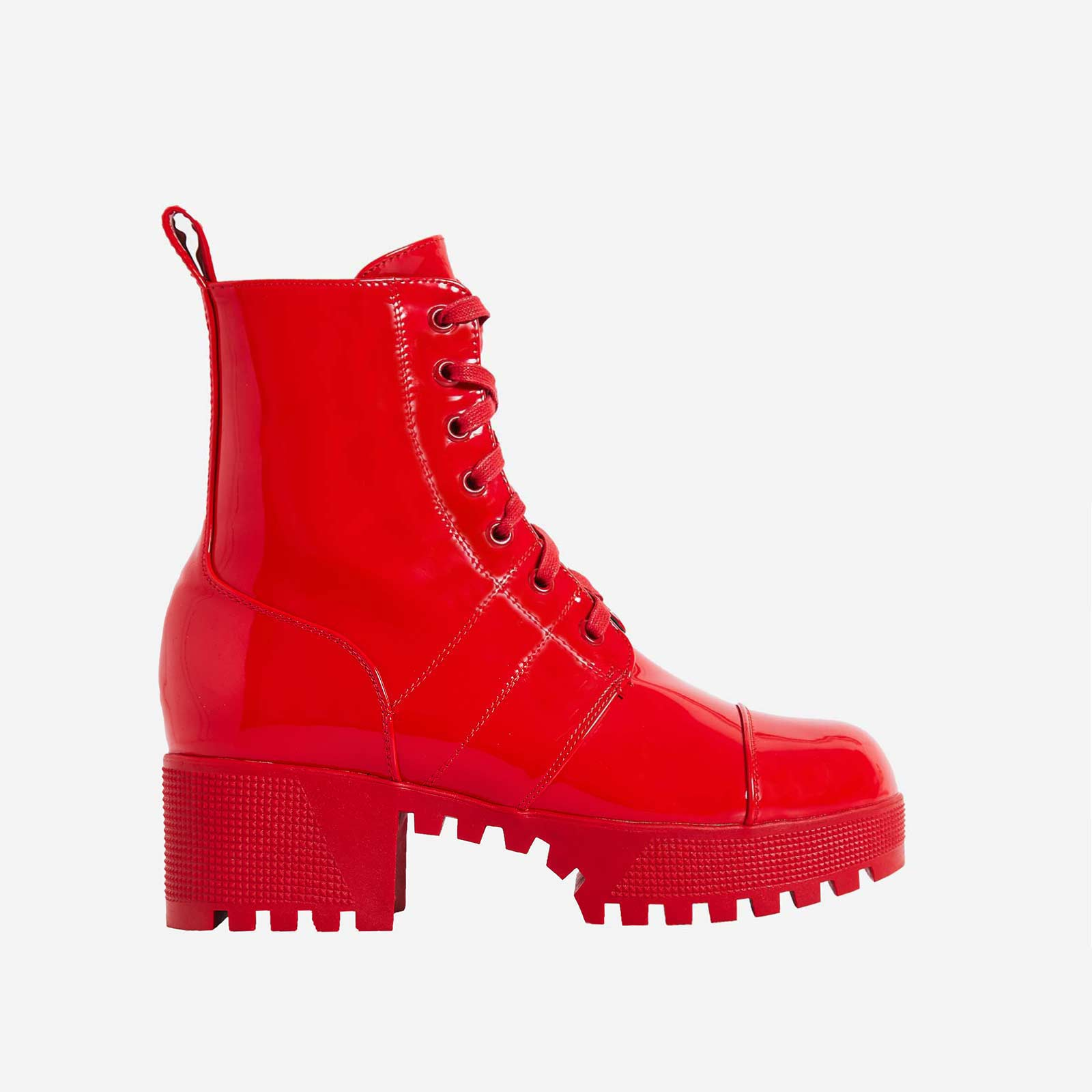 Cooper Chunky Sole Lace Up Boot In Ankle Biker Boot In Red Patent