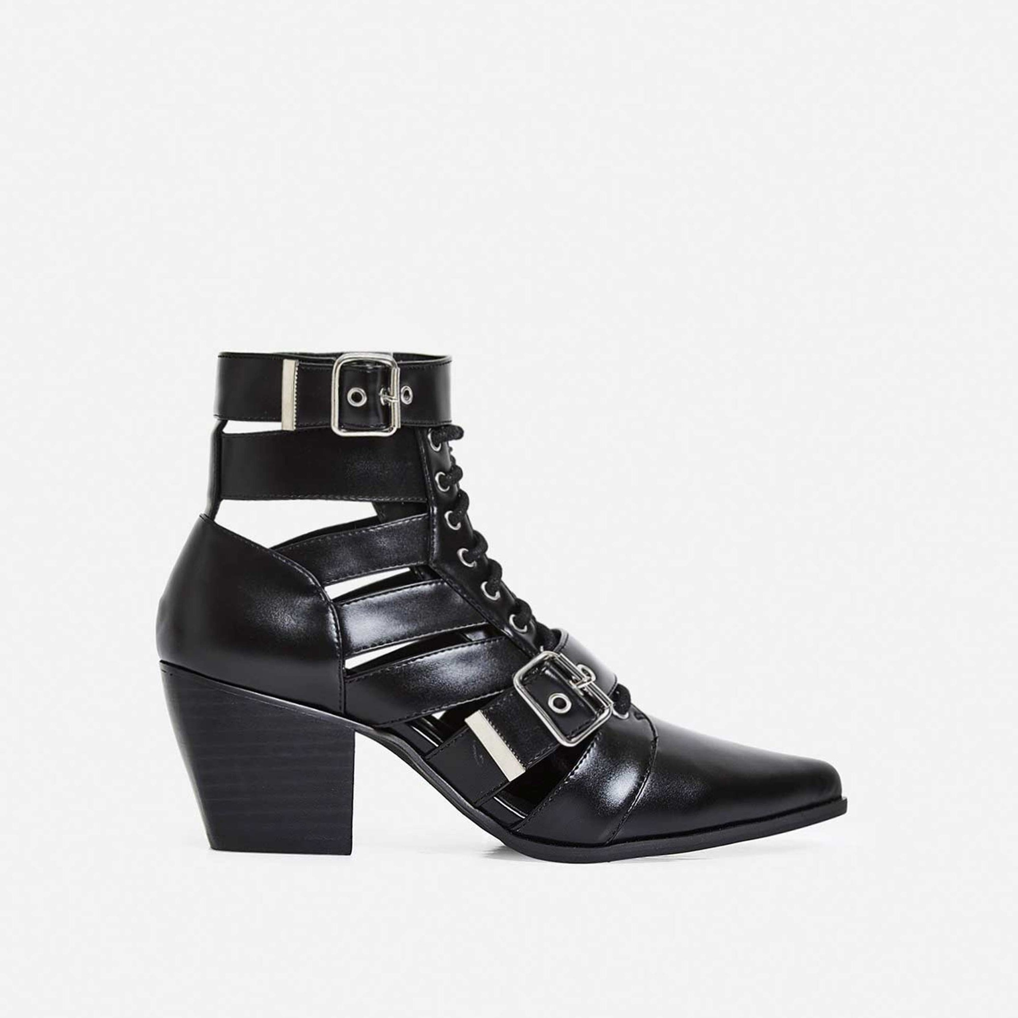 Cotto Cut Out Lace Up Ankle Western Boot In Black Faux Leather