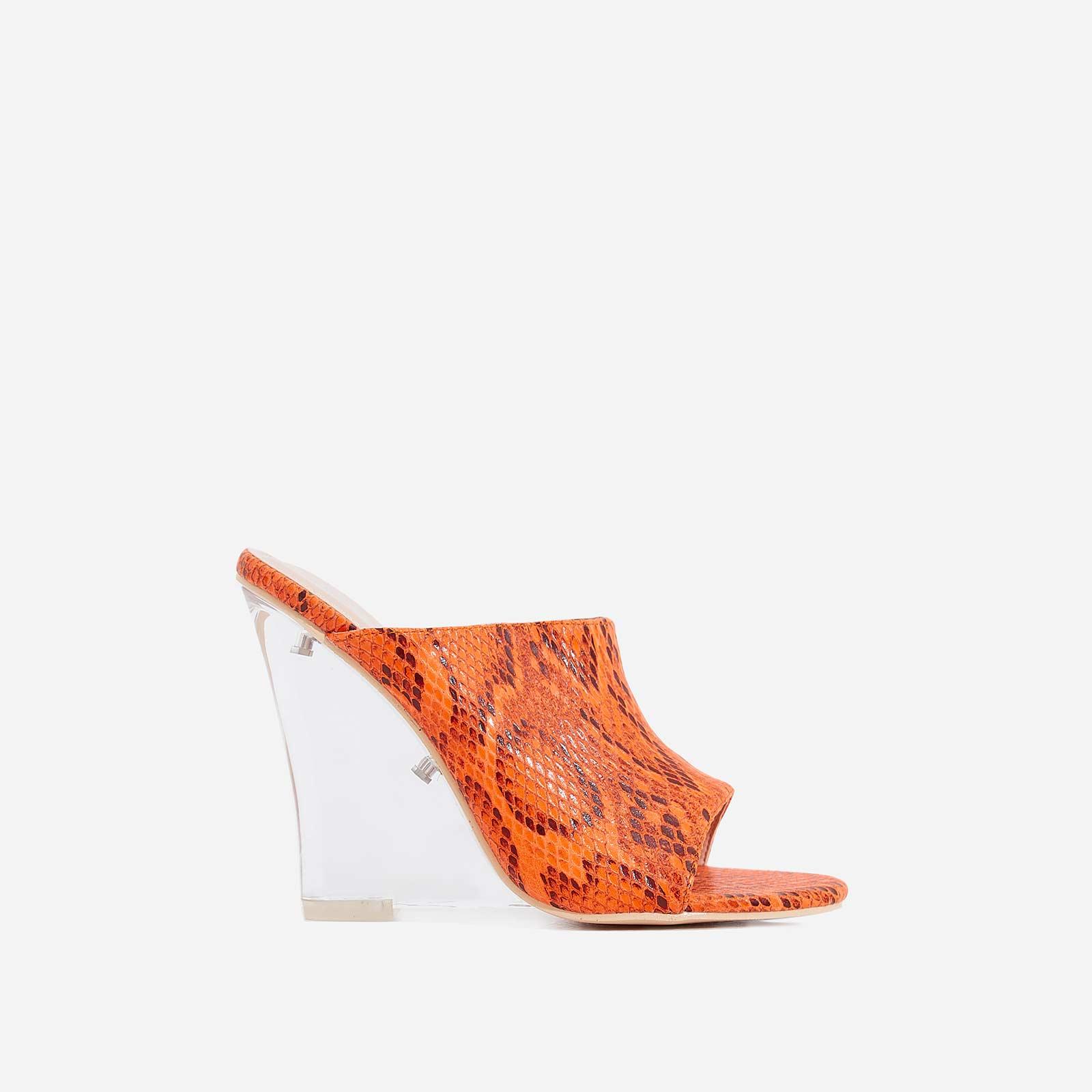 Candy Perspex Wedge Peep Toe Mule In Orange Snake Print Faux Leather