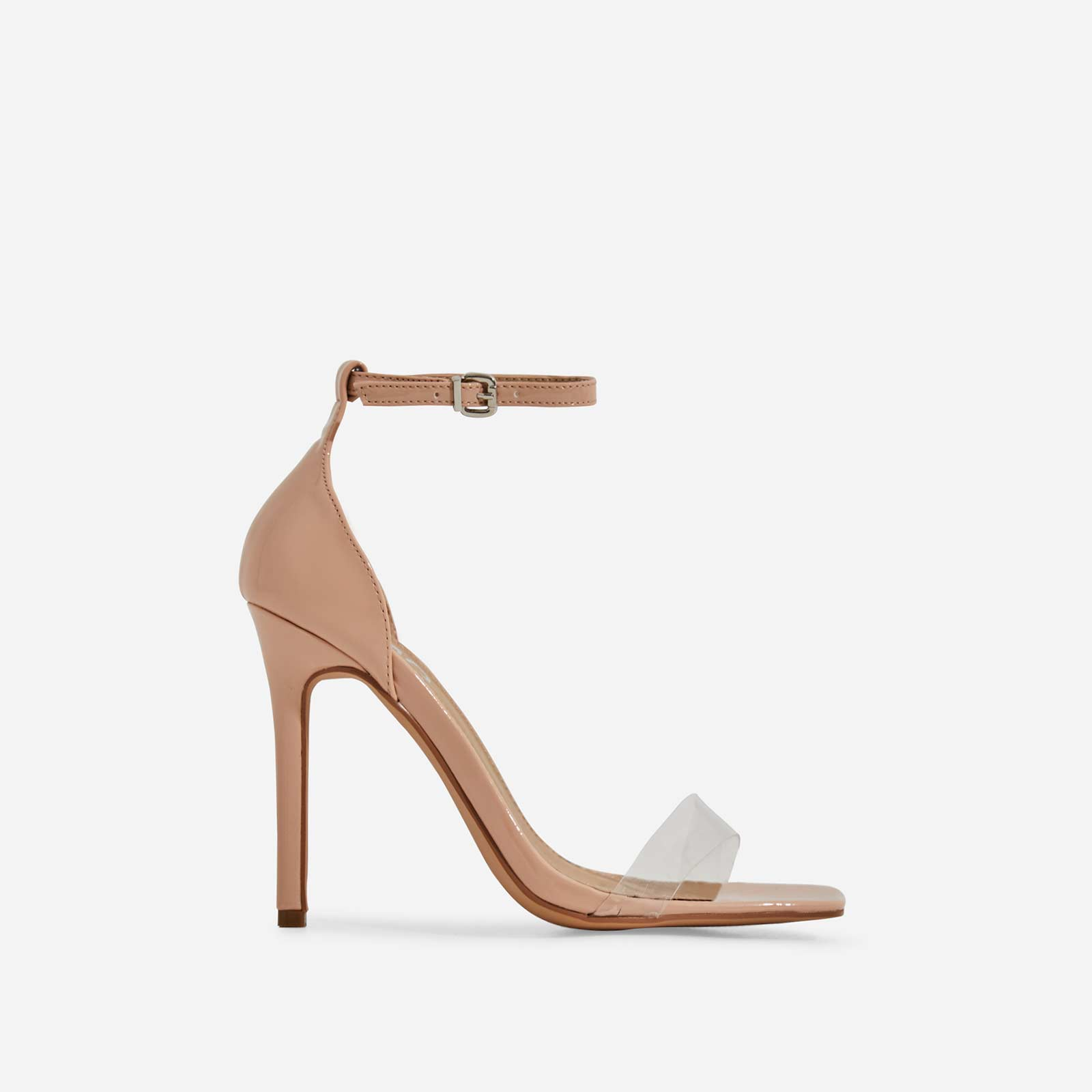 Court Perspex Barely There Square Toe Heel In Nude Patent