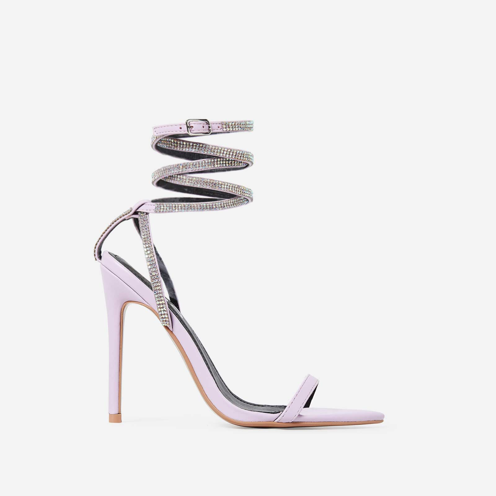 Crystal Diamante Lace Up Heel In Lilac Faux Leather