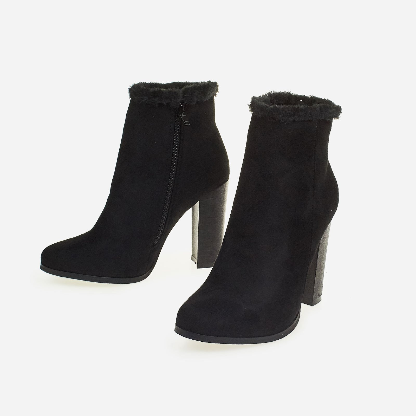 Adison Faux Fur Trim Block Heel Ankle Boot In Black Faux Suede