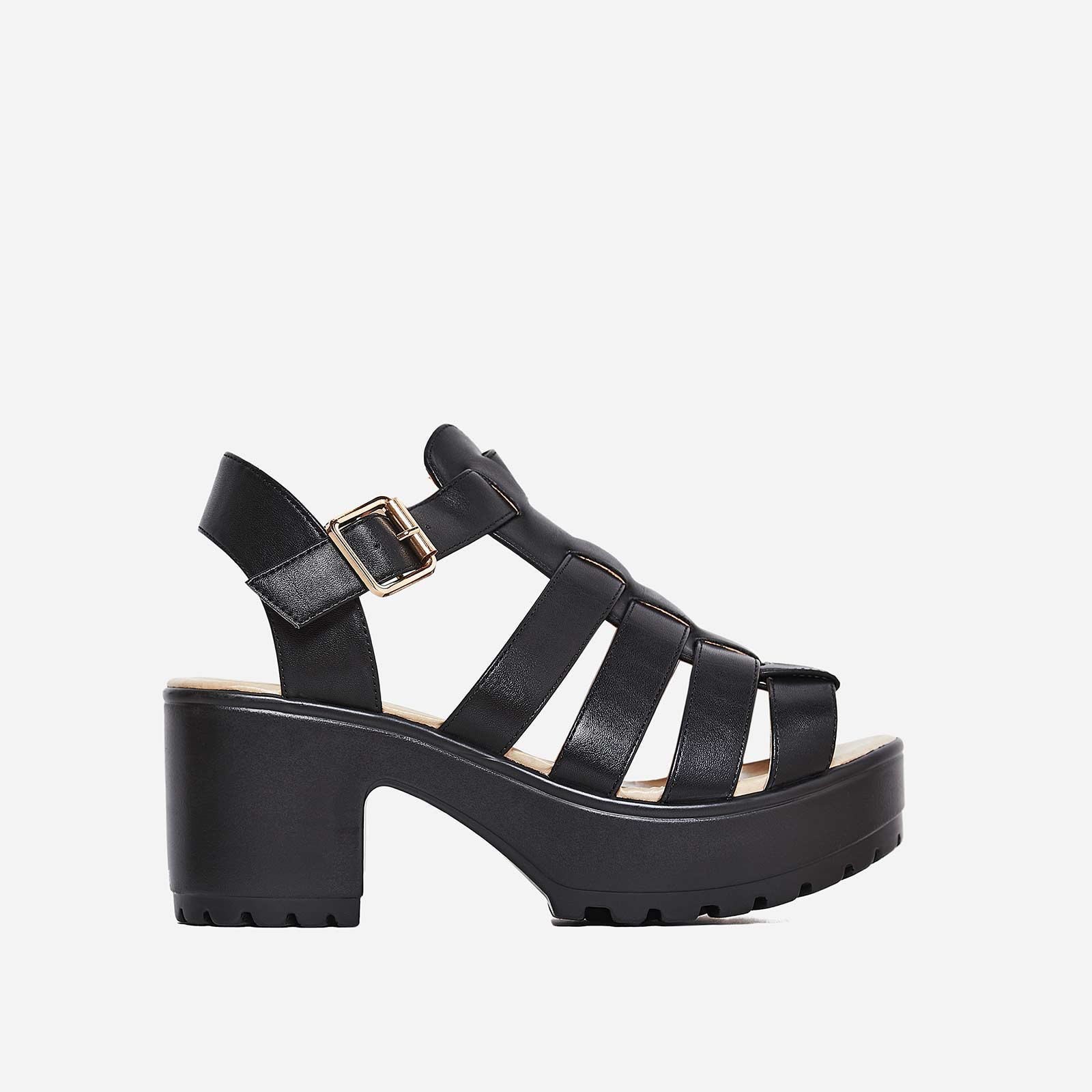 Kerr Platform Sandal In Black Faux Leather